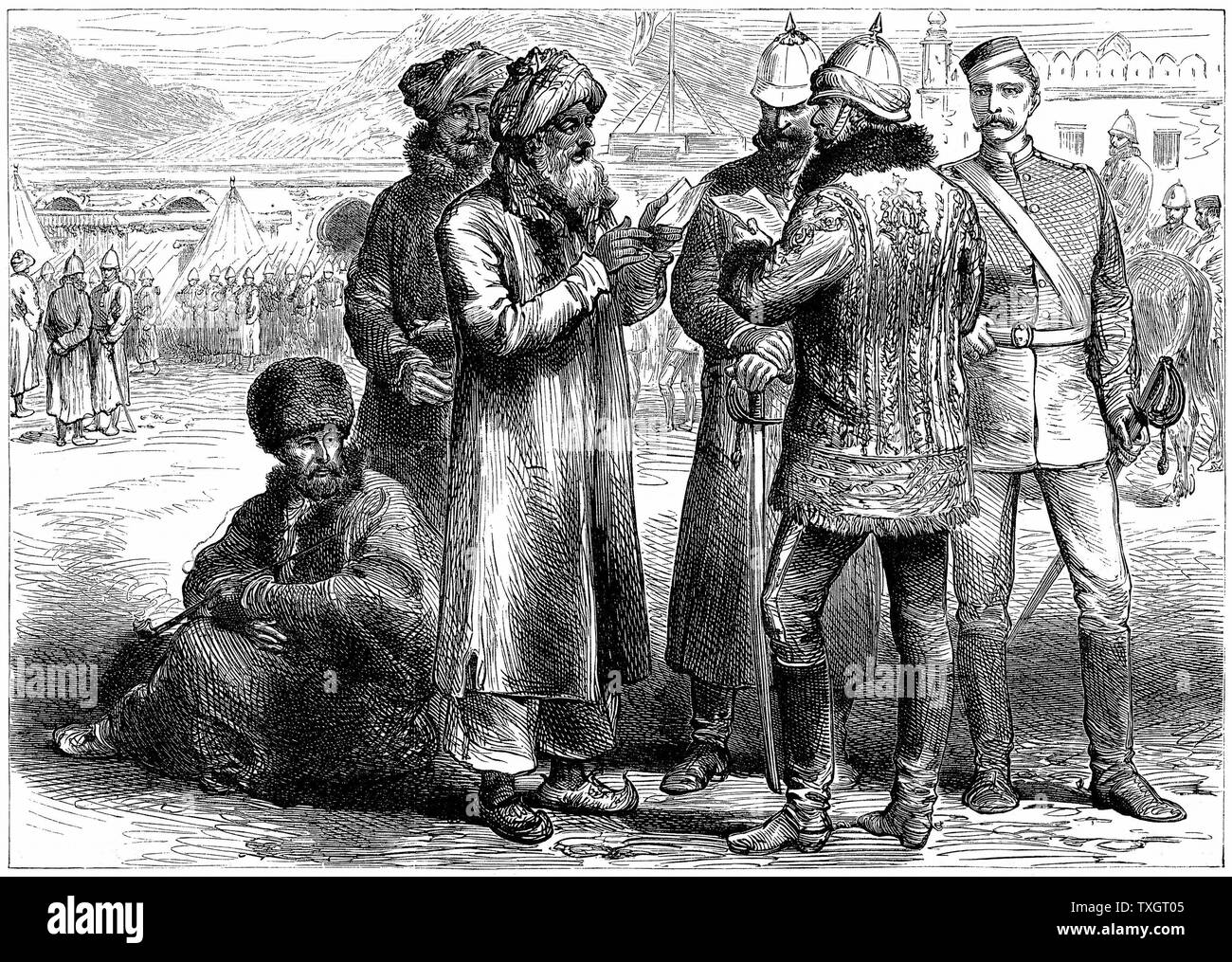 Second Anglo-Afghan War (1878-1880): General Frederick Roberts (1832-1914) at his headquarters at Sherpore Cantonments, February 1880.  March 1880 Wood engraving Stock Photo