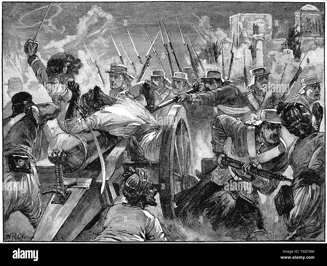 Indian Mutiny (Sepoy Mutiny) 1857-59 Highlanders capturing the muntineers' guns at Cawnpore, 16 July 1857 c.1895  Wood engraving - Stock Image