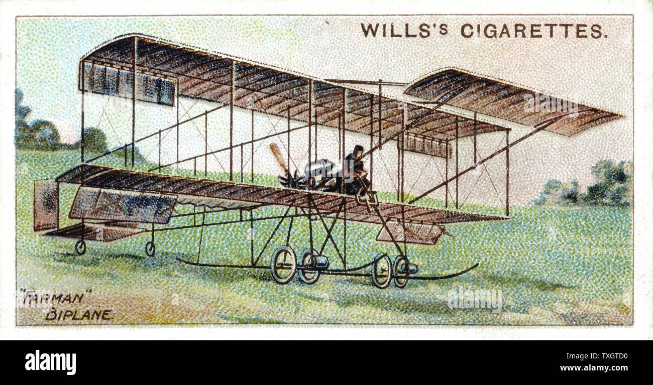 Henri Farman (1874-1958), French aviator and aircraft constructor, Farman biplane c. 1909.  1910 Chromolithograph, from set of cards on aviation Stock Photo