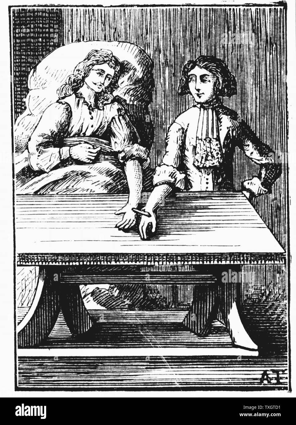 Direct person-to-person blood transfusion 1679 After engraving from George Abraham Mercklino 'Tractatio med. Curiosa de murto et occasu transfusionis sanguinis',  Nuremberg - Stock Image