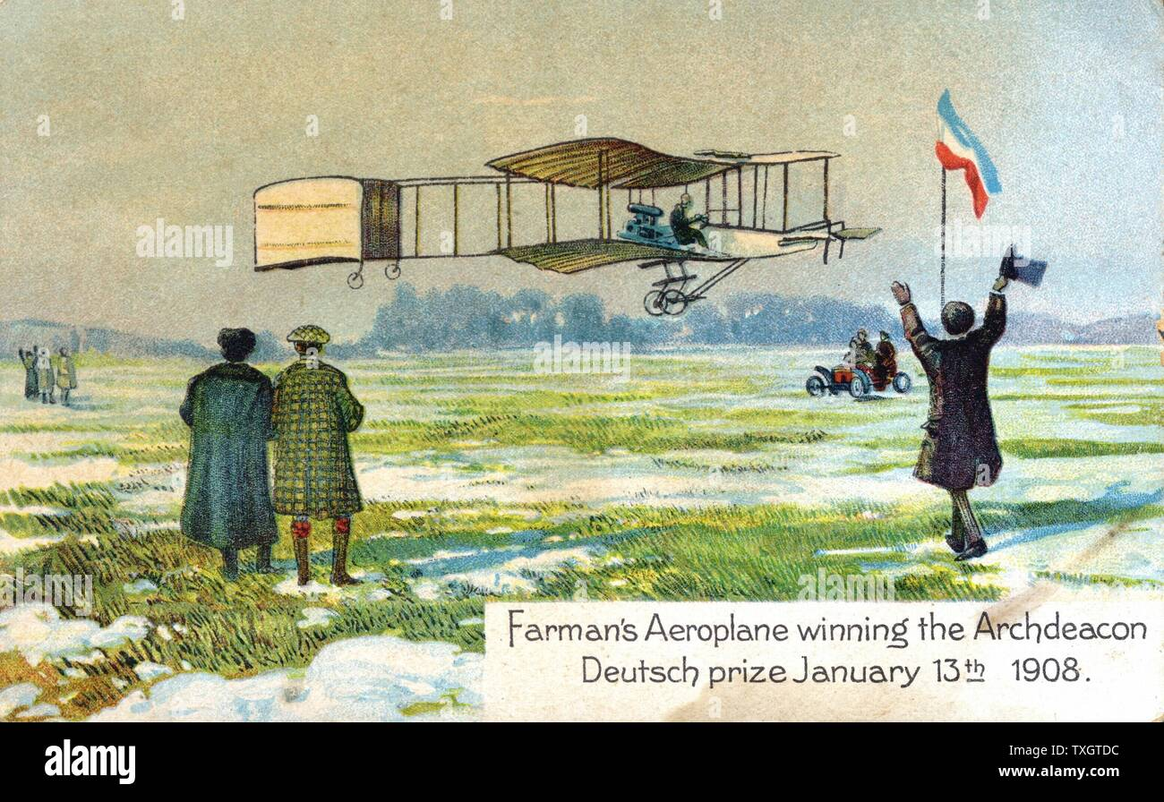 Henri Farman (1874-1958), French aviator and aircraft constructor, in his Voisin biplane winning Archdeacon Deutsch prize for first circular l kilometre flight, Paris, 13 January 1908. From series of postcards on flying machines published c1910. Chromolithograph. Stock Photo