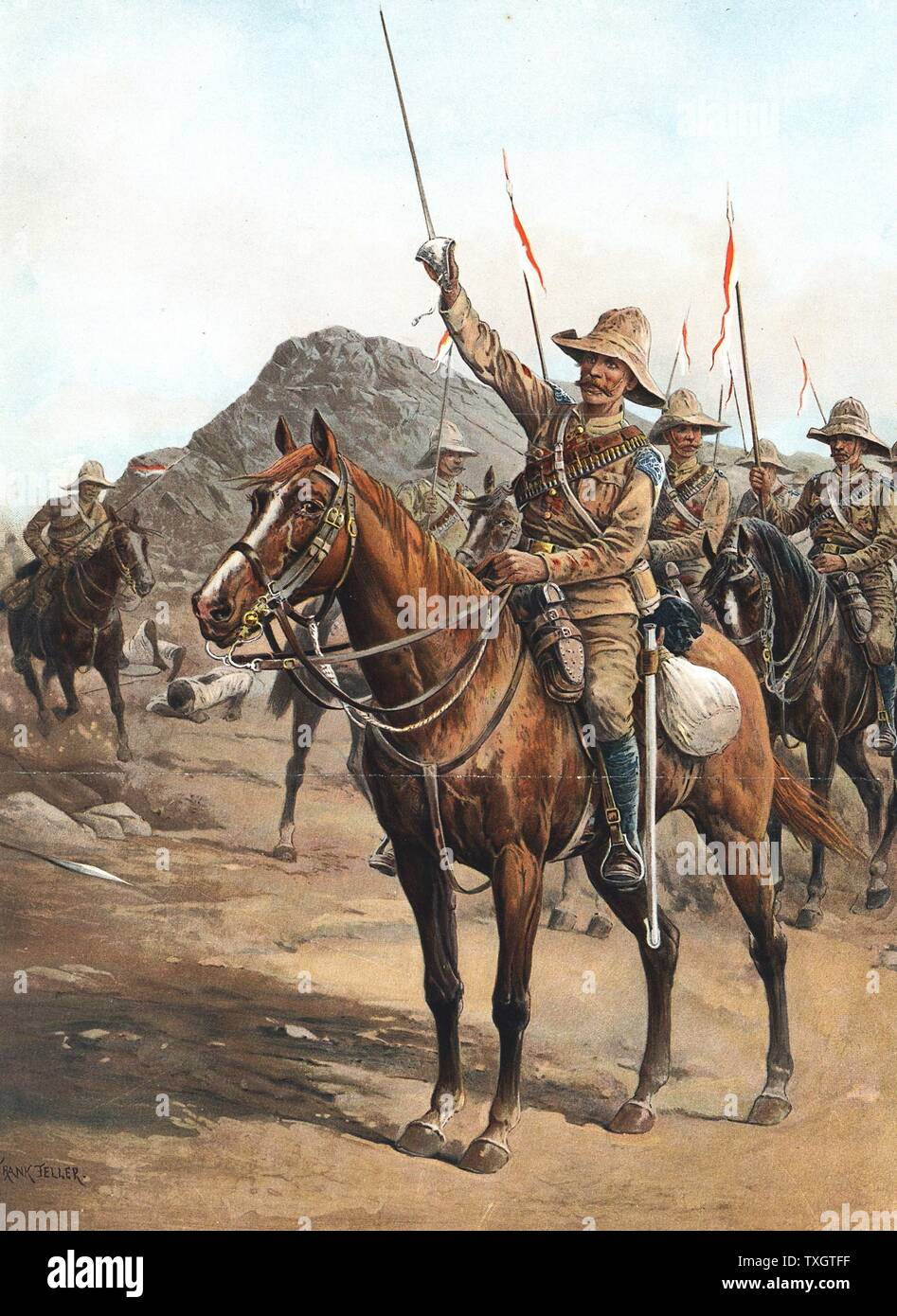 """Form Up, No. 2!  Form Up!"""" Rallying cry of Sergeant-Major Veysey after charge of 21st Lancers at Omdurman, 2 September 1898. British under Kitchener defeated 'Abd Allah (al-Kalifah). Sudan Chromolithograph Stock Photo"""