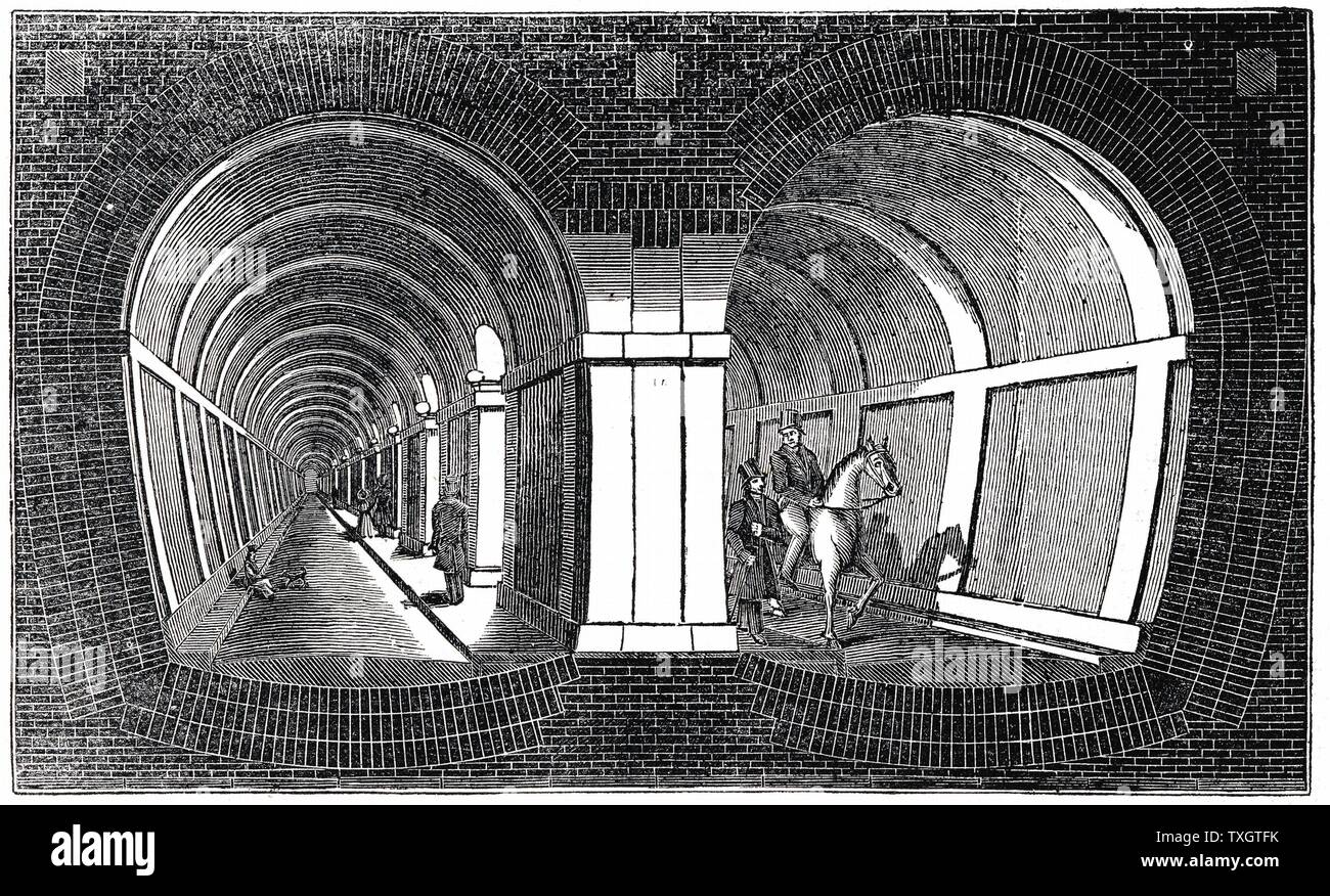Cross-section showing impression of Marc Isambart Brunel's double arched masonry Thames Tunnel built 1825-1843. Originally a roadway, it is still used by electric trains between Whitechapel and New Cross, London. Woodcut, 1832. Stock Photo
