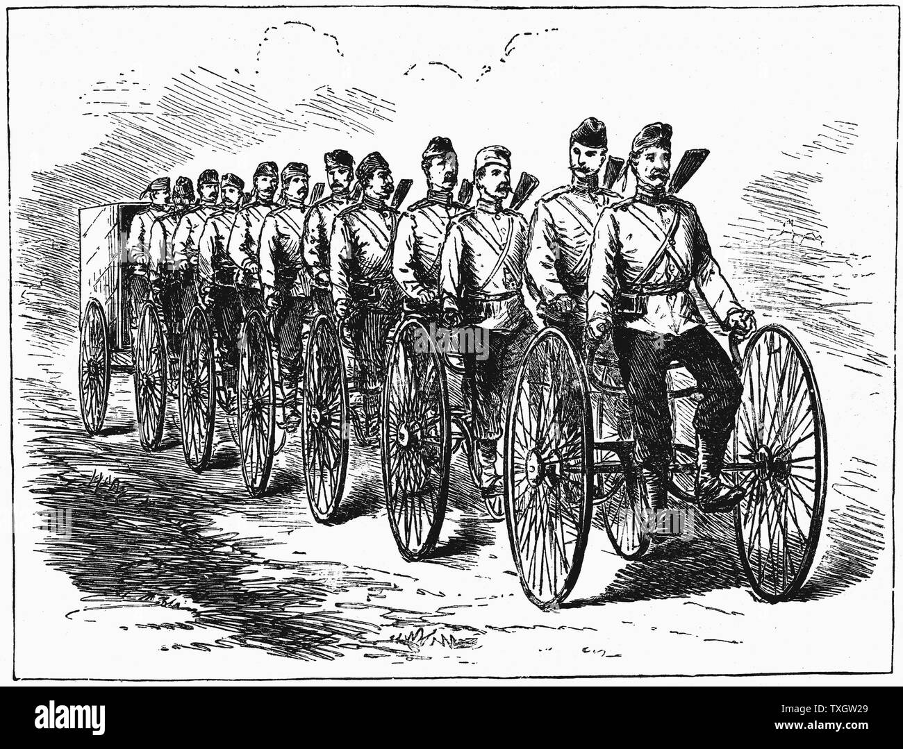 Military multicycle by Singer & Co. 12 men, with ammunition wagon at rear. British war department put through trials.  July 1887 From 'Scientific American' Engraving New York - Stock Image