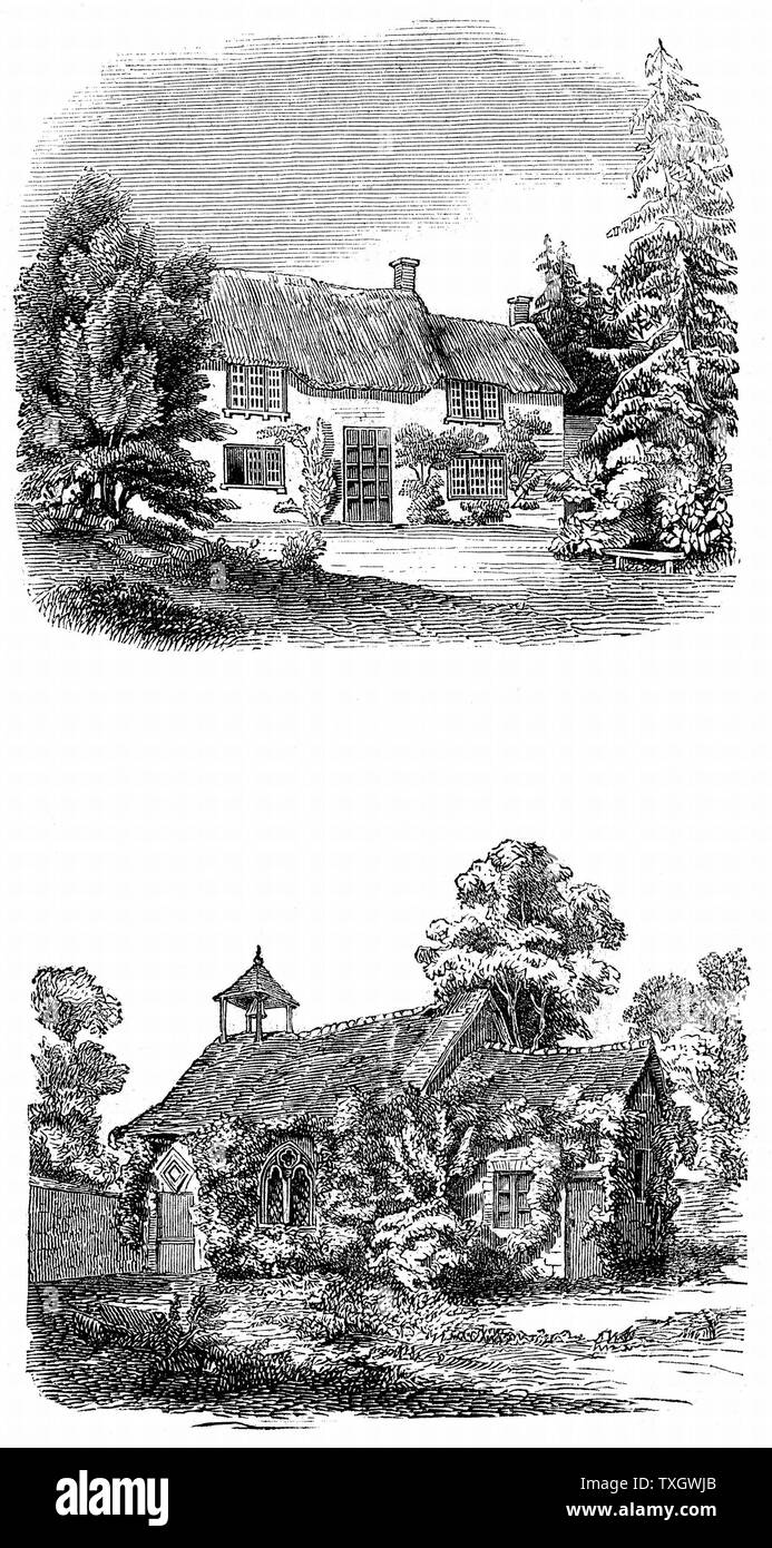 Joseph Addison (1672-1719) English essayist, poet, playwright and politician. Friend of Richard Steele and Jonathan Swift. Addison's birthplace at Milston near Amesbury, Wiltshire (top); Milston church where his father was rector at the time of his birth (bottom) 1844 Woodcut London - Stock Image