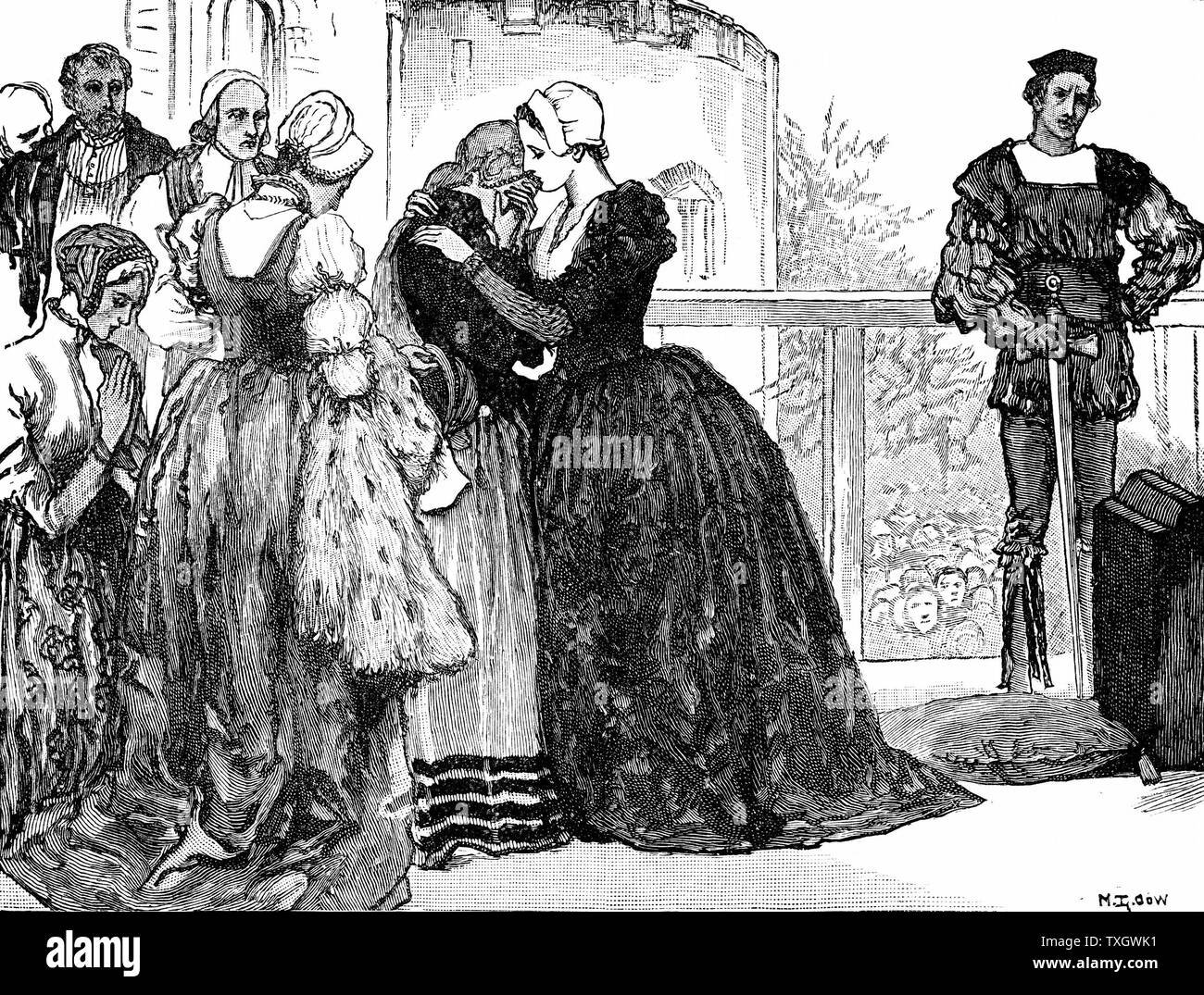 Anne Boleyn (c1504-36) second wife of Henry VIII of England, mother of Elizabeth I. Found guilty of high treason on grounds of adultery, charges almost certainly fabricated. Anne taking leave of her ladies before her execution at Tower of London. Executioner on right, waits to behead Anne with sword rather than customary axe as cleaner and quicker decapitation achieved Late 19th century Engraving - Stock Image