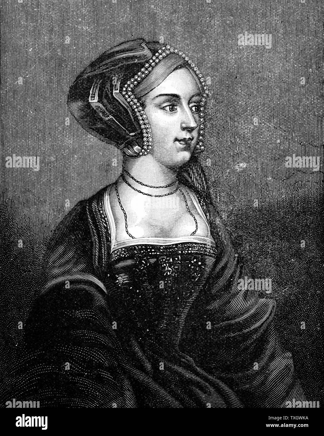 Anne Boleyn (c1504-36) second wife of Henry VIII of England, mother of Elizabeth I. Found guilty of high treason on grounds of adultery, charges almost certainly fabricated 19th century  Engraving after Holbein - Stock Image