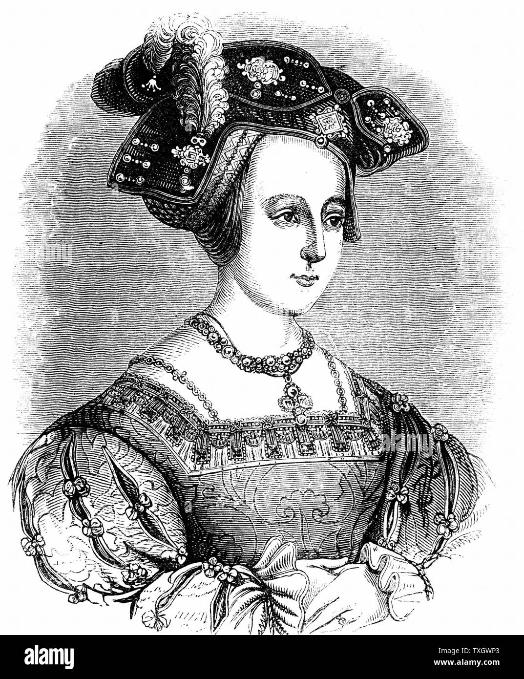 Anne Boleyn (c1504-36) second wife of Henry VIII of England, mother of Elizabeth I. Found guilty of high treason on grounds of adultery, charges almost certainly fabricated c1880  Engraving - Stock Image