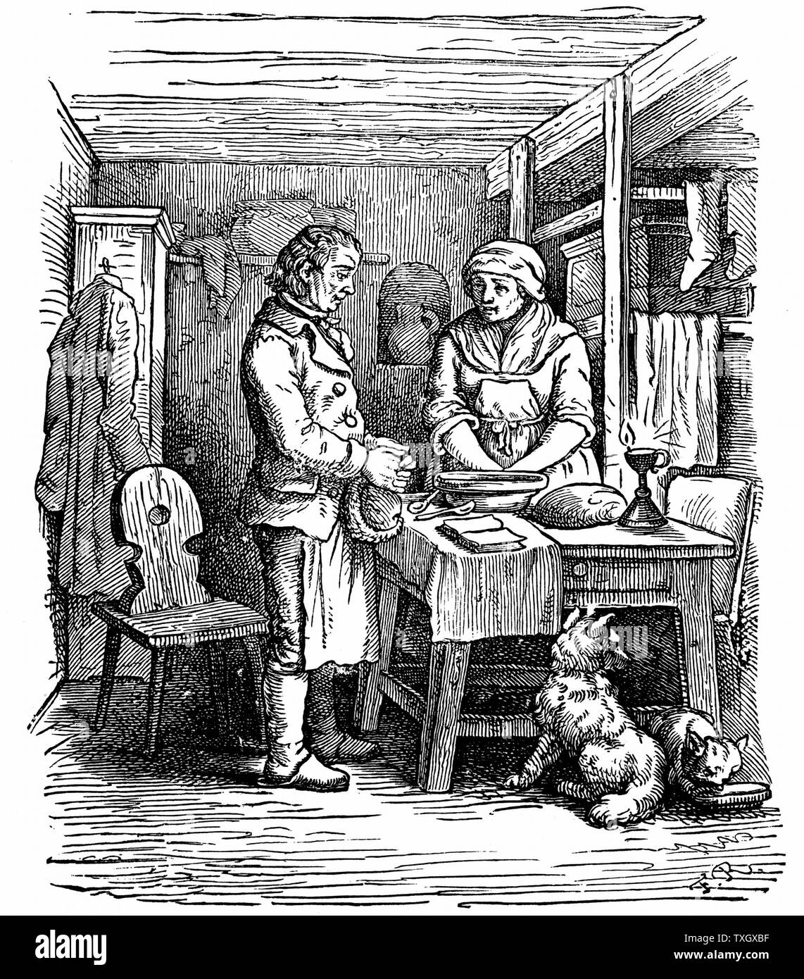 Richard Arkwright (1732-1792) British industrialist and inventor hearing from a neighbour about clockmaker named Kay living at Warrington. Arkwright and Kay produced model of a spinning machine which was shown at Preston in 1768 1822 Woodcut - Stock Image