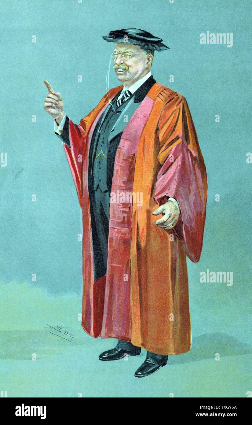 Theodore Roosevelt (1858-1919) 26th President of USA 1901-9 'Spy' cartoon from 'The World' showing him in robes of DCL after presentation of an honorary degree - Stock Image