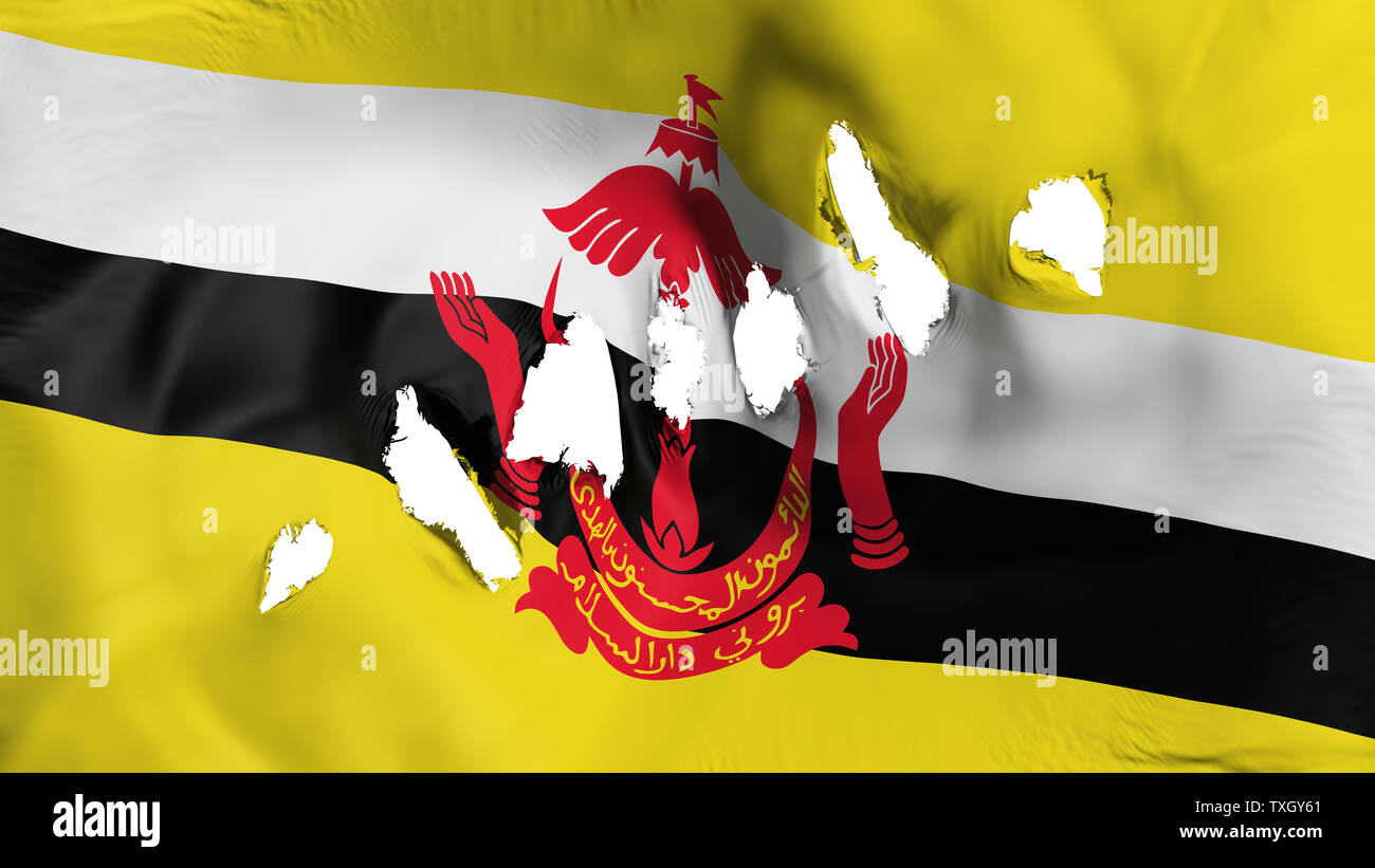 Bandar Seri Begawan flag perforated, bullet holes - Stock Image