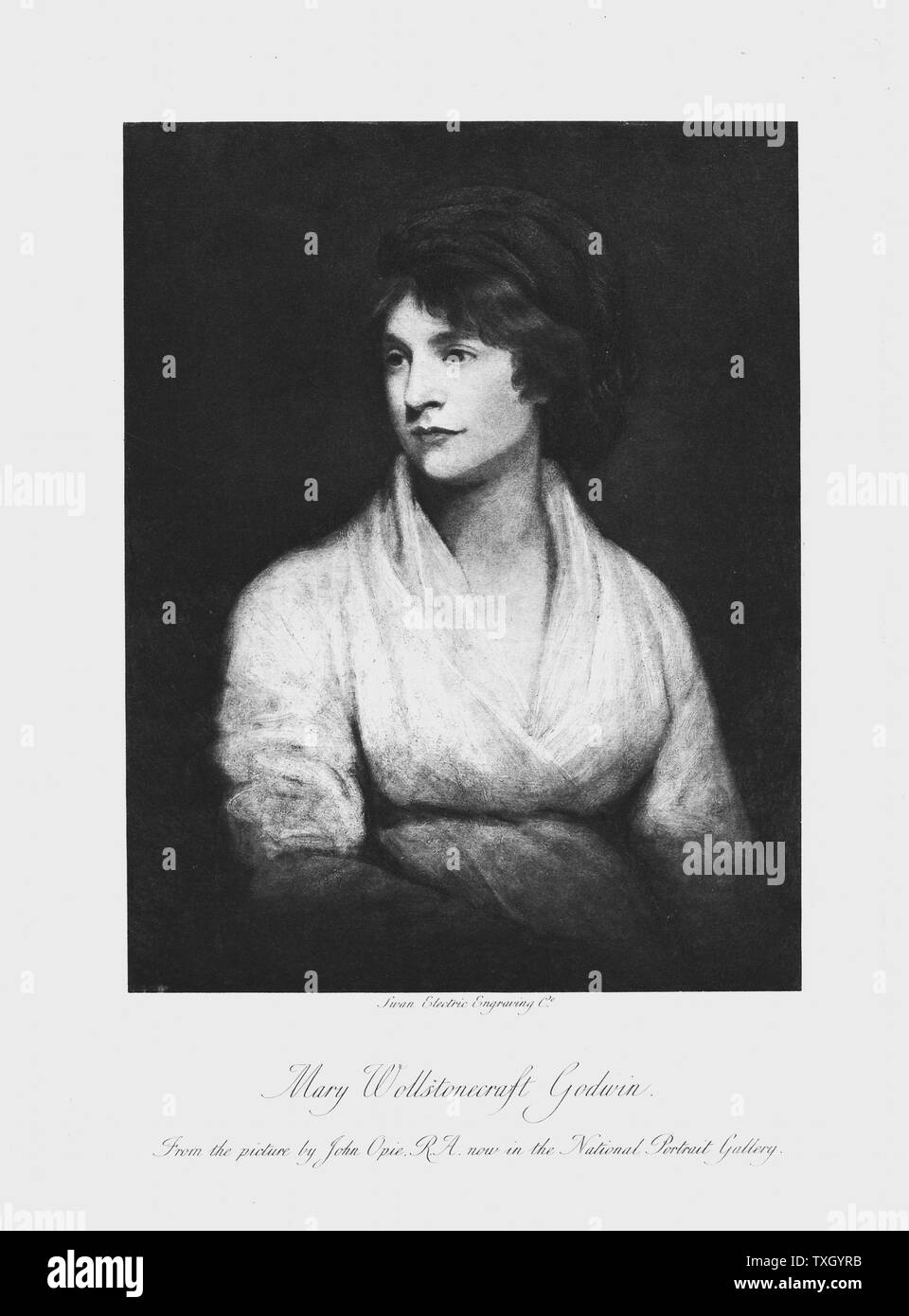 Mary Wollstonecraft (1759-97) Anglo-Irish writer and feminist. Wife of William Godwin. Mother of Mary Shelley. Lithograph after portrait by John Opie Stock Photo