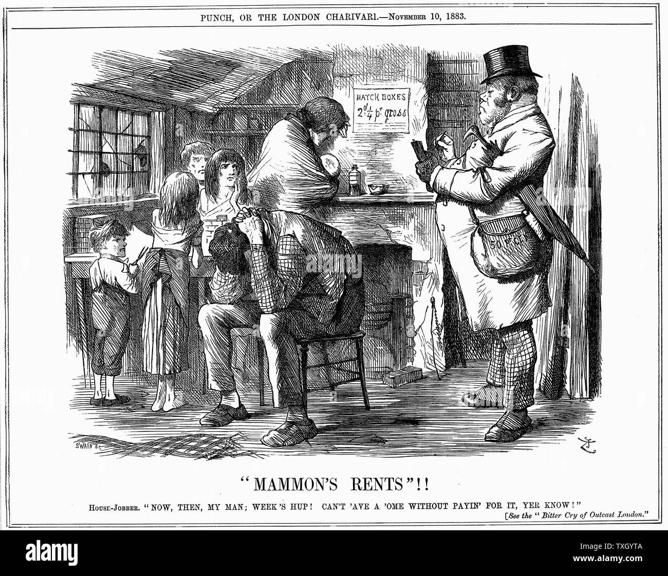 Housing conditions of poor labouring family, partly caused by high rents. Landlords were making up to 50% on their investements in already condemned properties.  Well-fed and warmly clothed rent collector demands payment from tenants of miserable dwelling. Father sits in despair and mother leans against chimney with fireless grate while 4 skinny children in rags look on. John Tenniel cartoon from 'Punch' London November 1883 - Stock Image