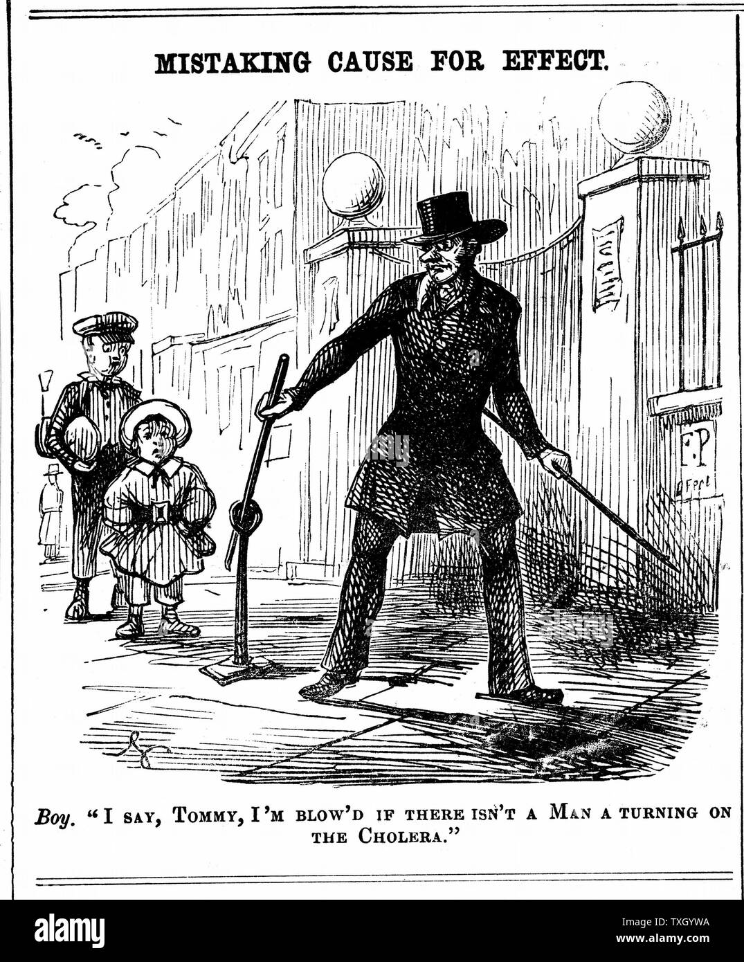 Mistaking Cause for Effect. Boy thinks the Water Board man is turning on cholera.  Cartoon from 'Punch' London, 1849 - Stock Image
