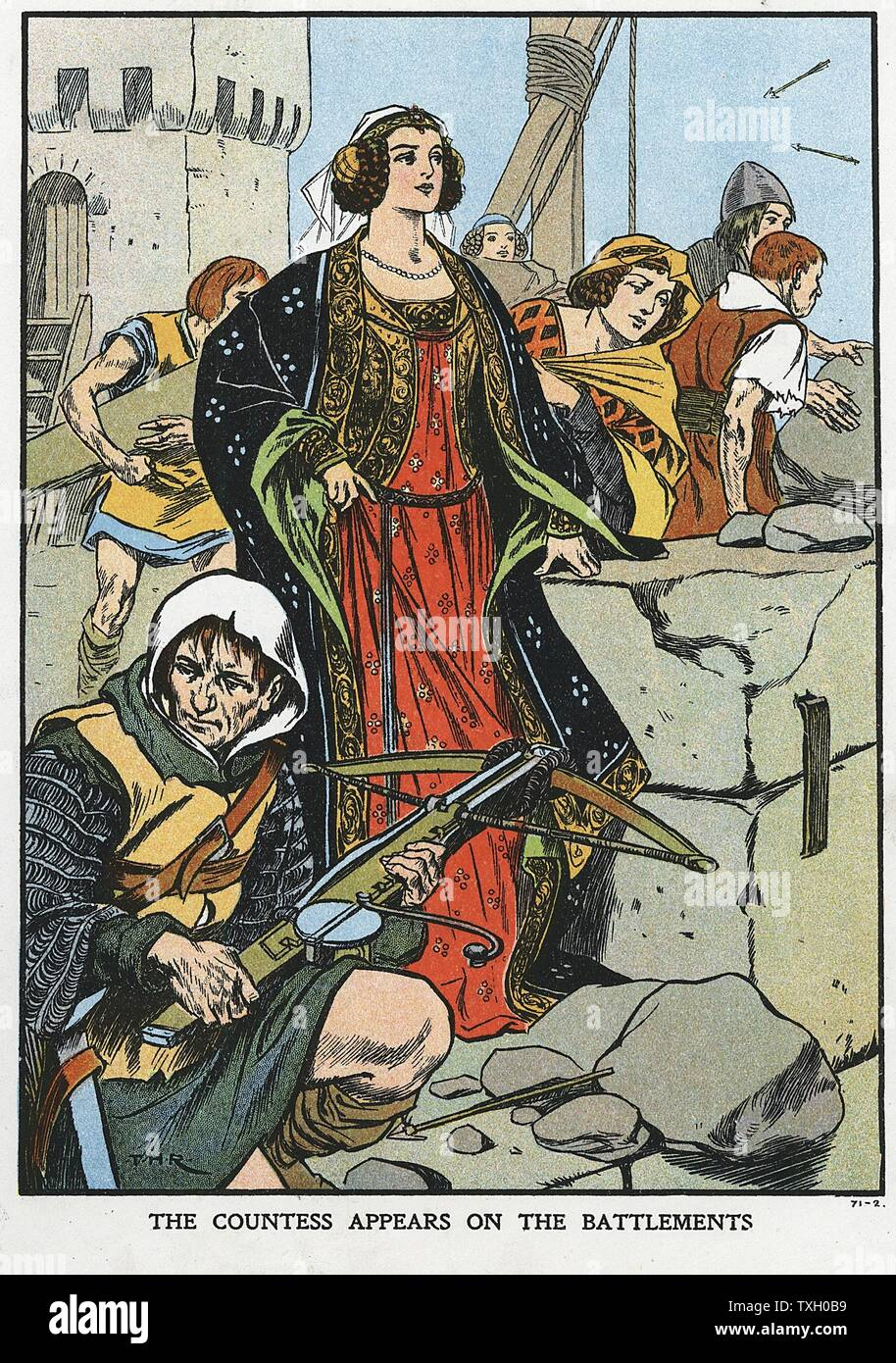 Agnes, Countess of Dunbar (1312?-1369), known as Black Agnes, defending Dunbar Castle in 1338 when her husband rebelled against the English. Early 20th century colour-printed wood engraving Stock Photo