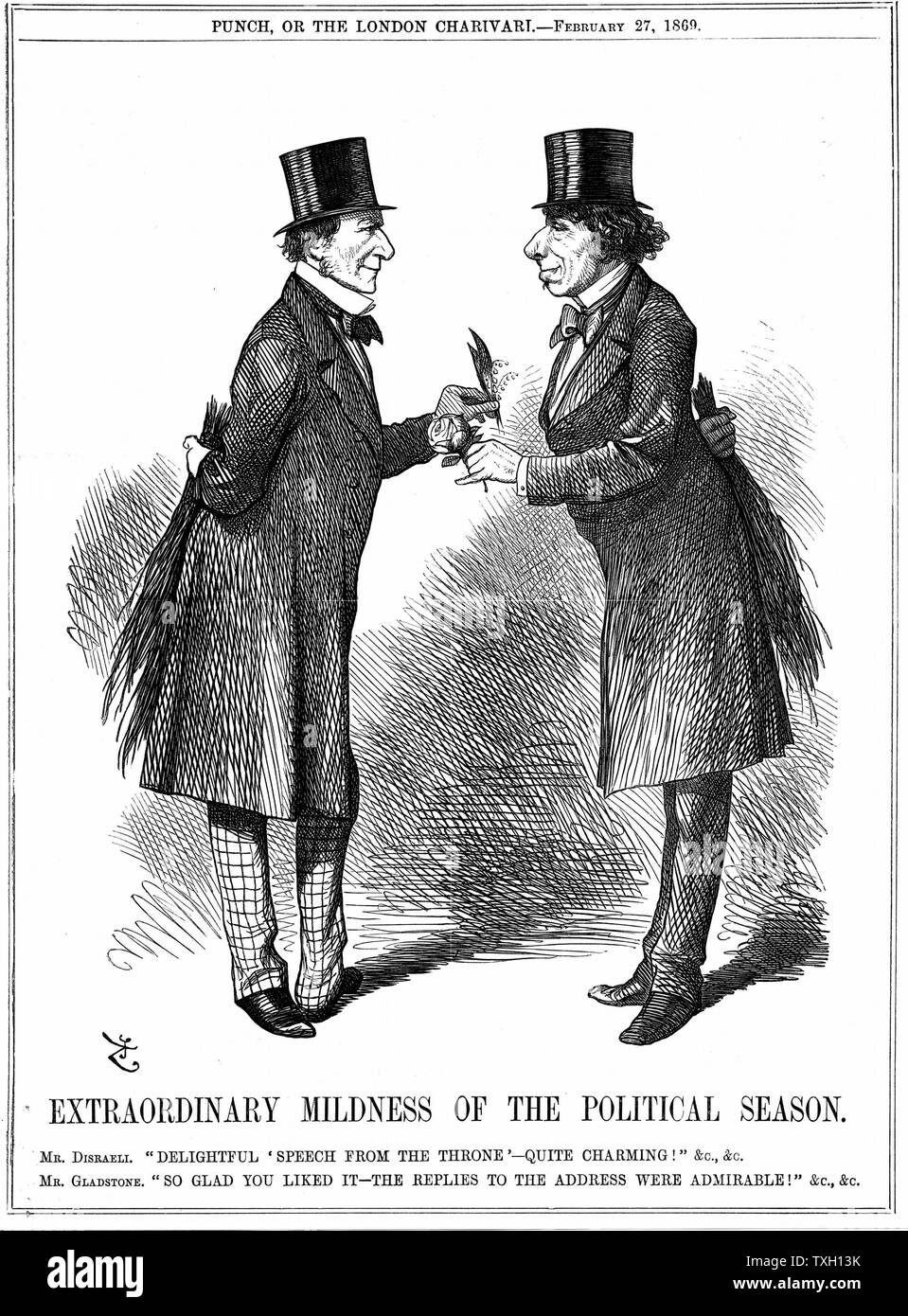 'Extraordinary Mildness of the Political Season': Disraeli congratulating Gladstone on Sovereign's speech at Opening of Parliament. Both have a birch behind them to start beating the other as soon as the Session gets underway.  John Tenniel cartoon from 'Punch', 27 February 1869, making fun of the animosity between the two men. Engraving - Stock Image