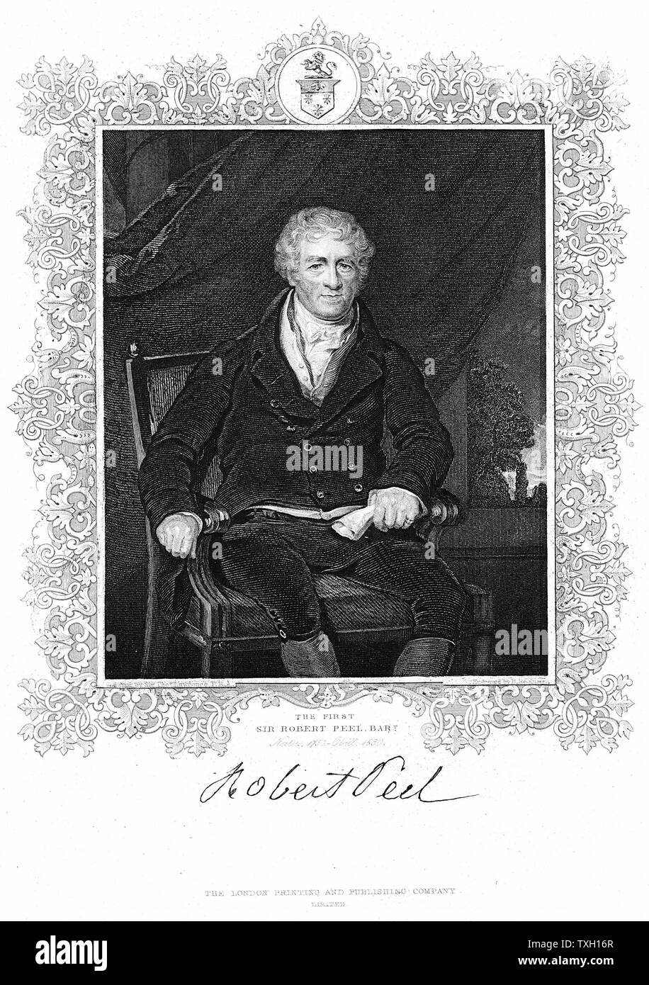 Robert Peel (1750-1830) British industrialist and father of Robert Peel the statesman. Cotton Mills.  Engraving after portrait Lawrence - Stock Image