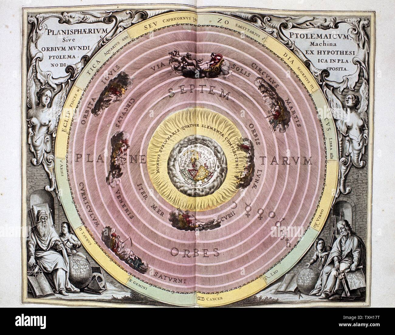 """Ptolemaic (Geocentric/Earth-centred)) system of universe, showing Earth surrounded by water air and fire (4 Greek elements) and the spheres of the planets and stars. From Andreas Cellarius """"Harmonia Macrocosmica"""" Amsterdam, 1708 Stock Photo"""