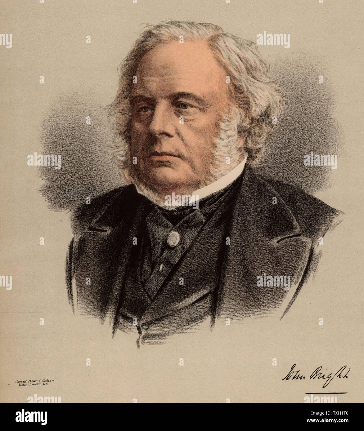 "John Bright (1811-1889) British radical statesman, born in Rochdale, Lancashire. Anti Corn Law League. Reform Act 1867. From ""The National Portrait Gallery"" (London, c1880). Tinted lithograph. Stock Photo"