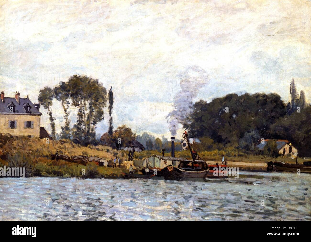 Alfred Sisley English school Boats at Bougival 1873 Oil on canvas (46 x 65 cm) Paris, musée d'Orsay - Stock Image