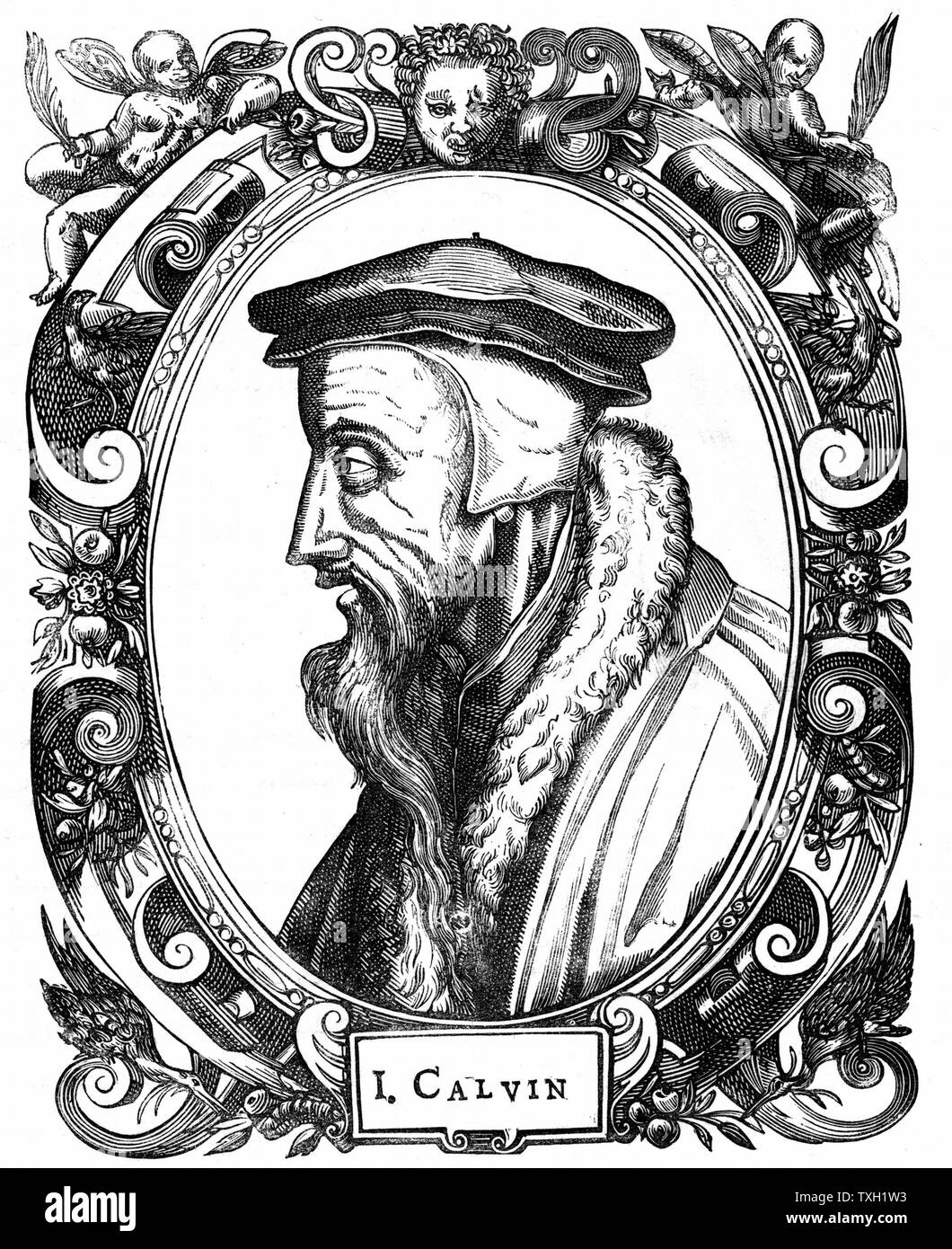 Jean Calvin French theologian and protestant reformer. He settled in Geneva and was leading figure in the Protestant Reformation. He gave his name to the protestant doctrine, the Calvinism.  Woodcut Stock Photo
