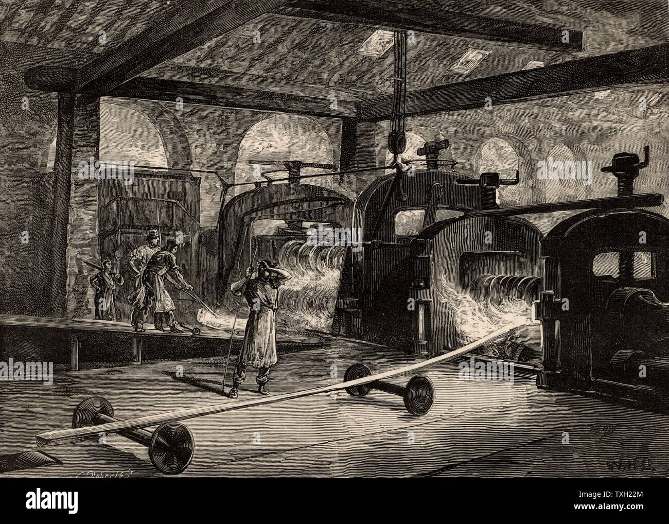 A battery of rolling mills producing steel rail.  Illustration  by the British artist William Heysman Overend (1851-1898).   Engraving from 'Great Industries of Great Britain' (London, c1880).  Engraving. - Stock Image