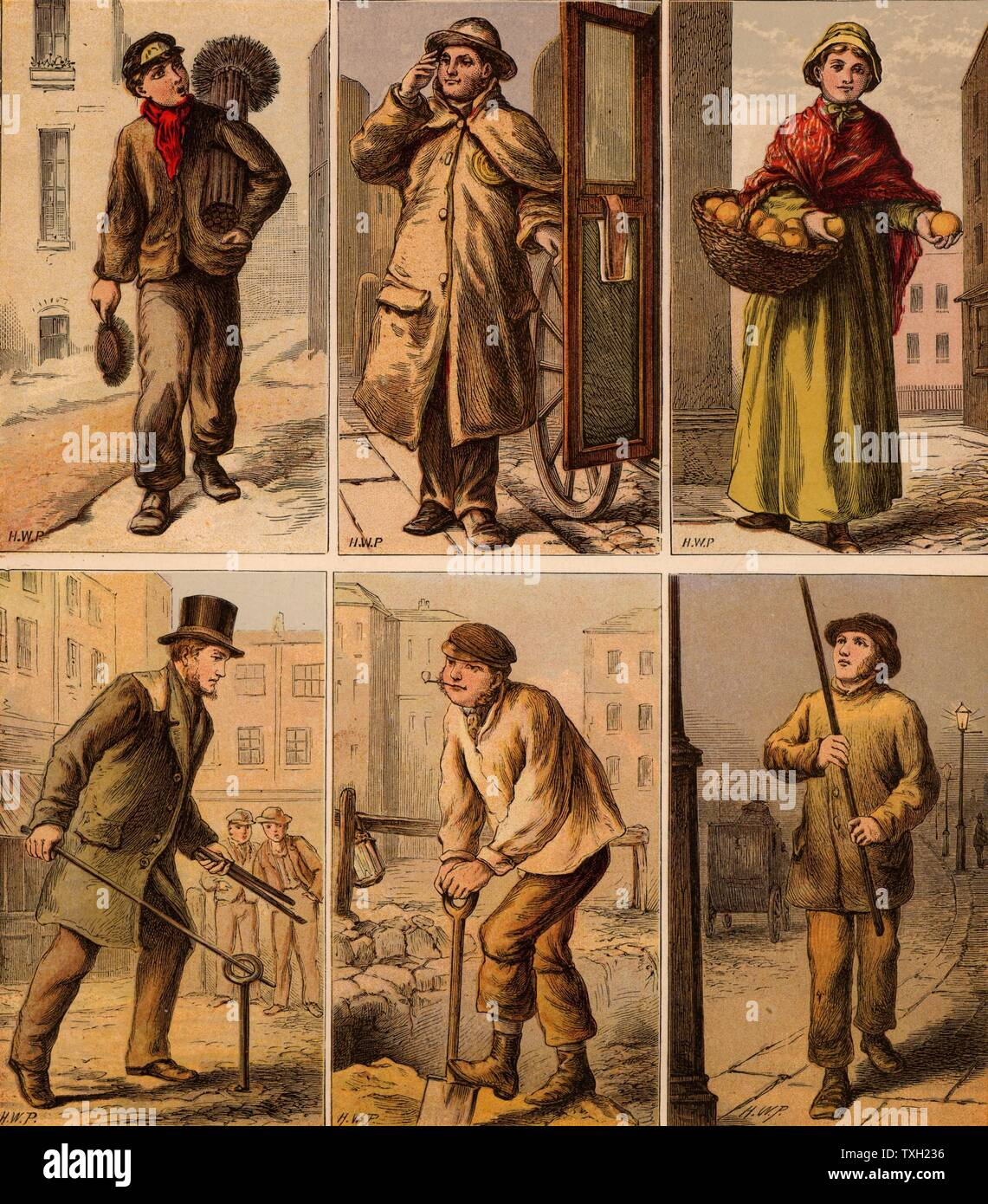 London street scenes. Boy Chimney Sweep: Cab driver: Orange Seller: Water Board Man turning a stopcock: Digging up the road: Lamplighter lighting a gas street lamp. Illustrations by Horace William Petherick (1839-1919) for a children's book published London c1875.  Chromolithograph. - Stock Image