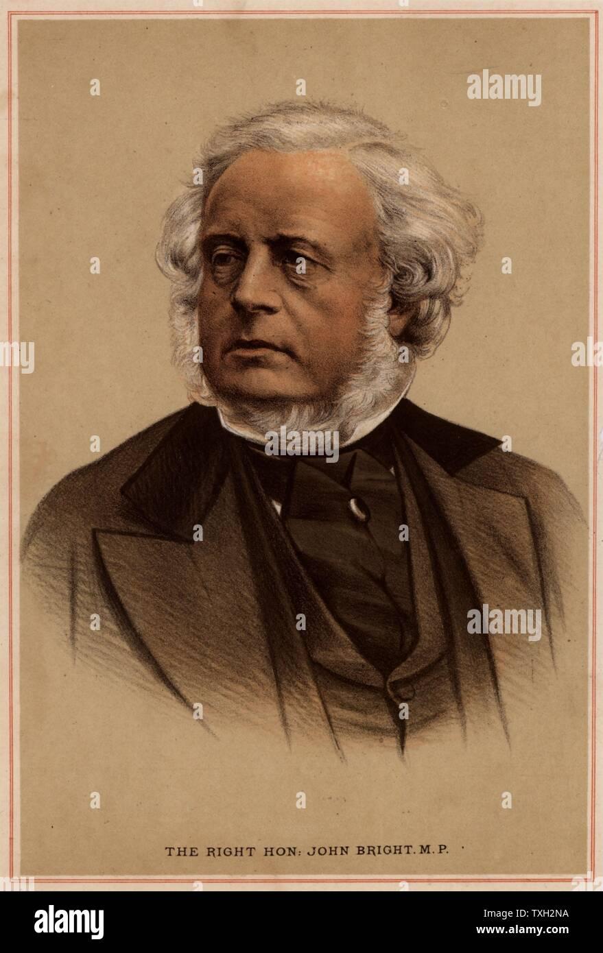 John Bright (1811-1889) British radical statesman, born in Rochdale, Lancashire. Anti-Corn Law League. Reform Act 1867. Tinted lithograph. Stock Photo