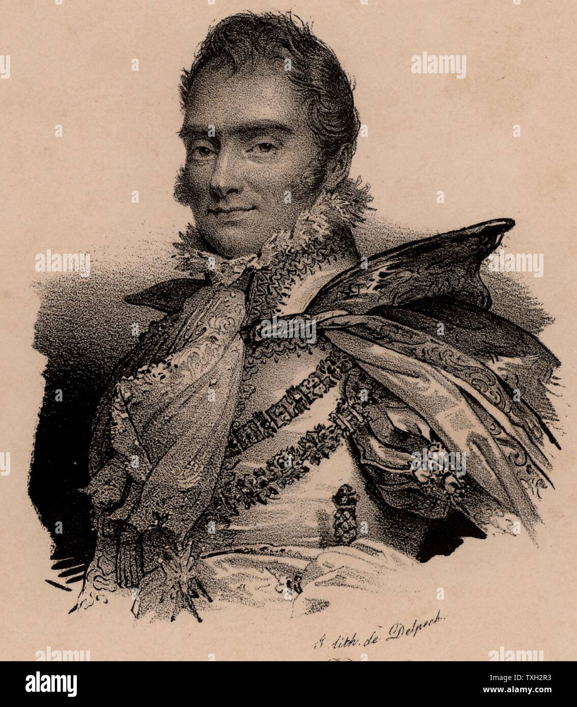 Charles Ferdinand, Duc de Berry (1778-1820); French aristocrat; second son of Charles X of France; assassinated by Bonapartist fanatic. Lithograph c1830 - Stock Image
