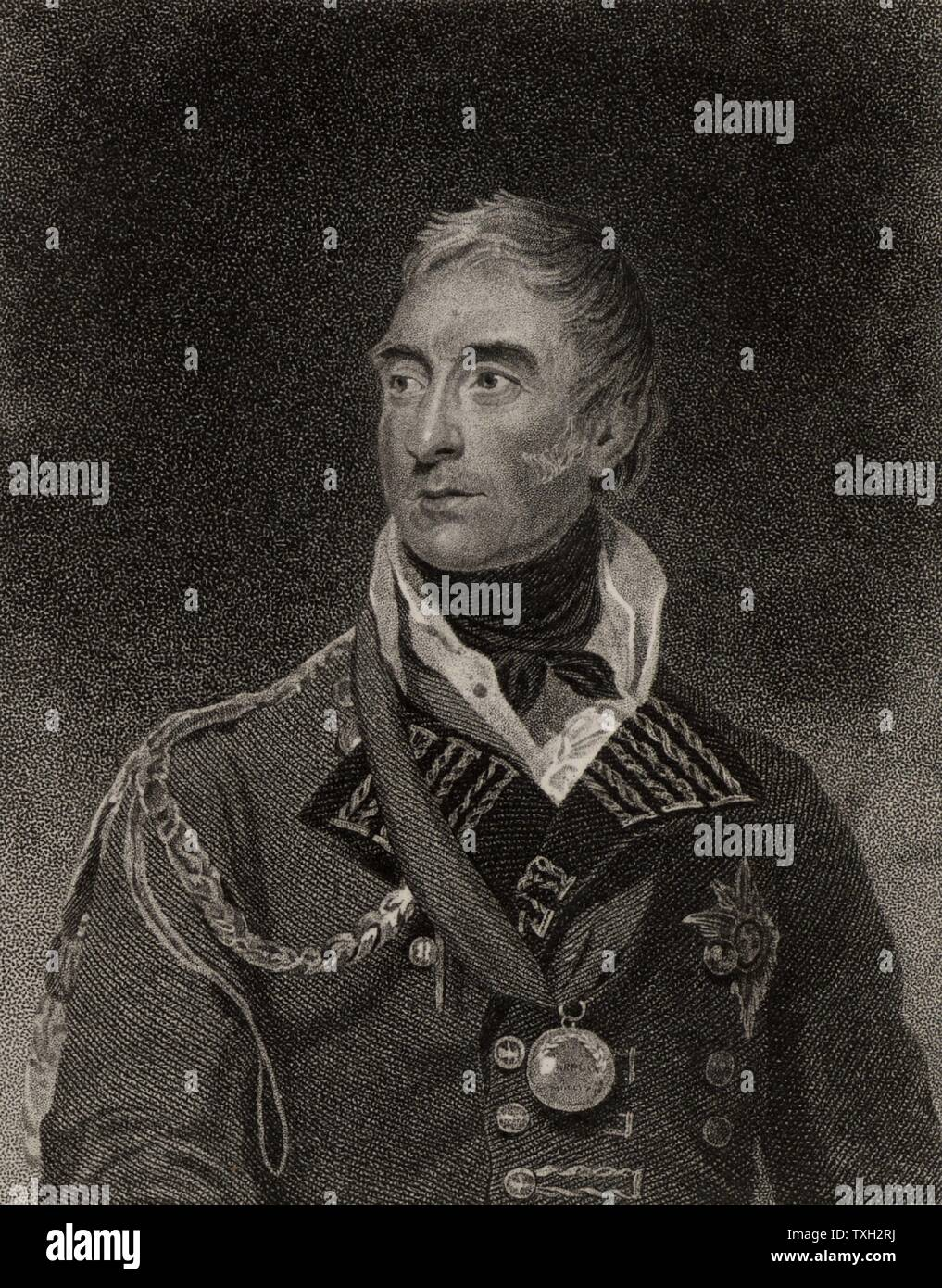 Thomas Graham, Baron Lynedoch (1750-1843) Scottish general who fought in  the Napoleonic Wars. He served under Sir John Moore in Portugal in the Peninsular campaign. Victorious at Barossa 1811. Commanded left wing at Vittoria 1813. Stipple engraving from 'History of the Wars Occasioned by the French Revolution...' by CH Gifford (London, 1817). - Stock Image