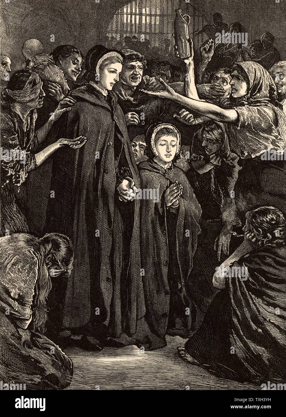 Elizabeth Fry (born Gurney - 1780-1845) English Quaker (Society of Friends) prison reformer, with Anna Buxton, visiting women prisoners in Newgate prison, London, 15 February 1813. Engraving from 'Heroes of Britain in Peace and War' by Edwin Hodder (London, c1880). - Stock Image