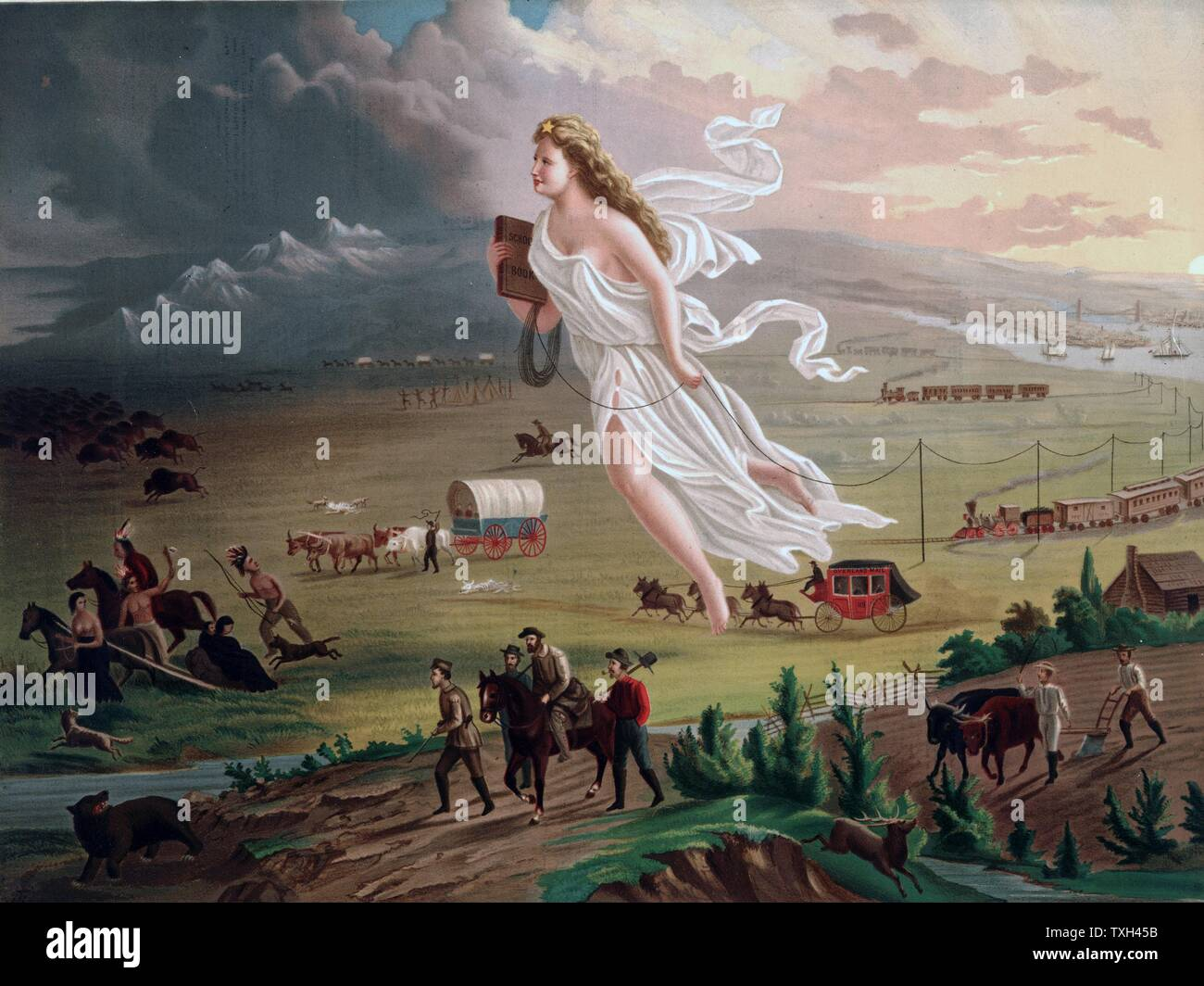 Concept of Manifest Destiny Allegorical female figure carrying electric  telegraph wire, leads American pioneers and railroads westwards, Native American Indians and buffalo and bear retreating  before them.  Chromolithograph Stock Photo