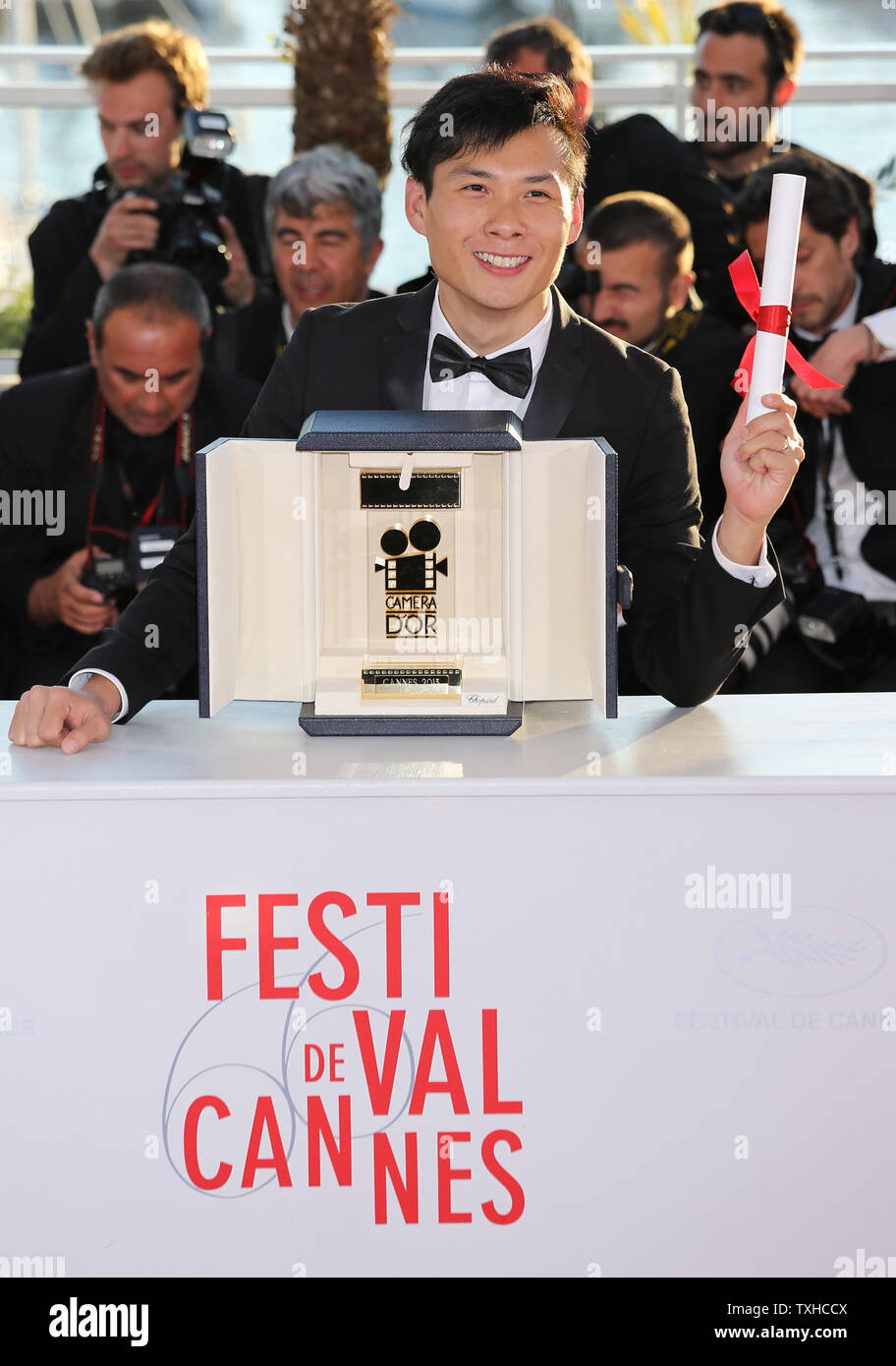 Anthony Chen arrives at the award photocall after receiving the 'Camera d'Or' prize for the film 'Ilo ilo' during the 66th annual Cannes International Film Festival in Cannes, France on May 26, 2013.   UPI/David Silpa - Stock Image