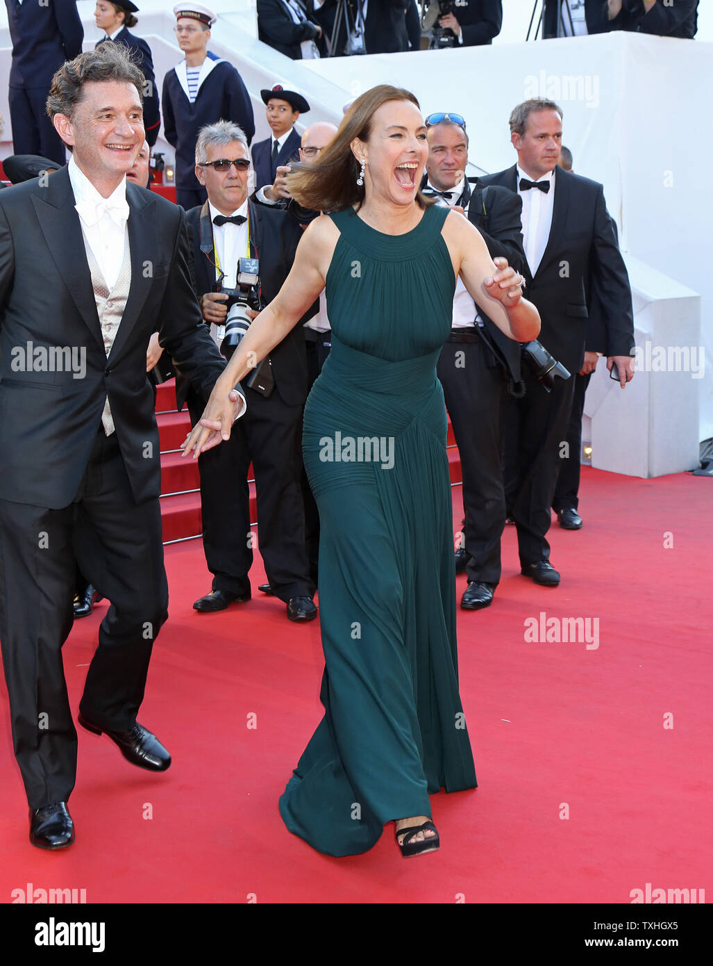 Philippe Sereys de Rothschild (L) and Carole Bouquet arrive on the red carpet before the screening of the film 'The Little Prince' during the 68th annual Cannes International Film Festival in Cannes, France on May 22, 2015.  Photo by David Silpa/UPI - Stock Image