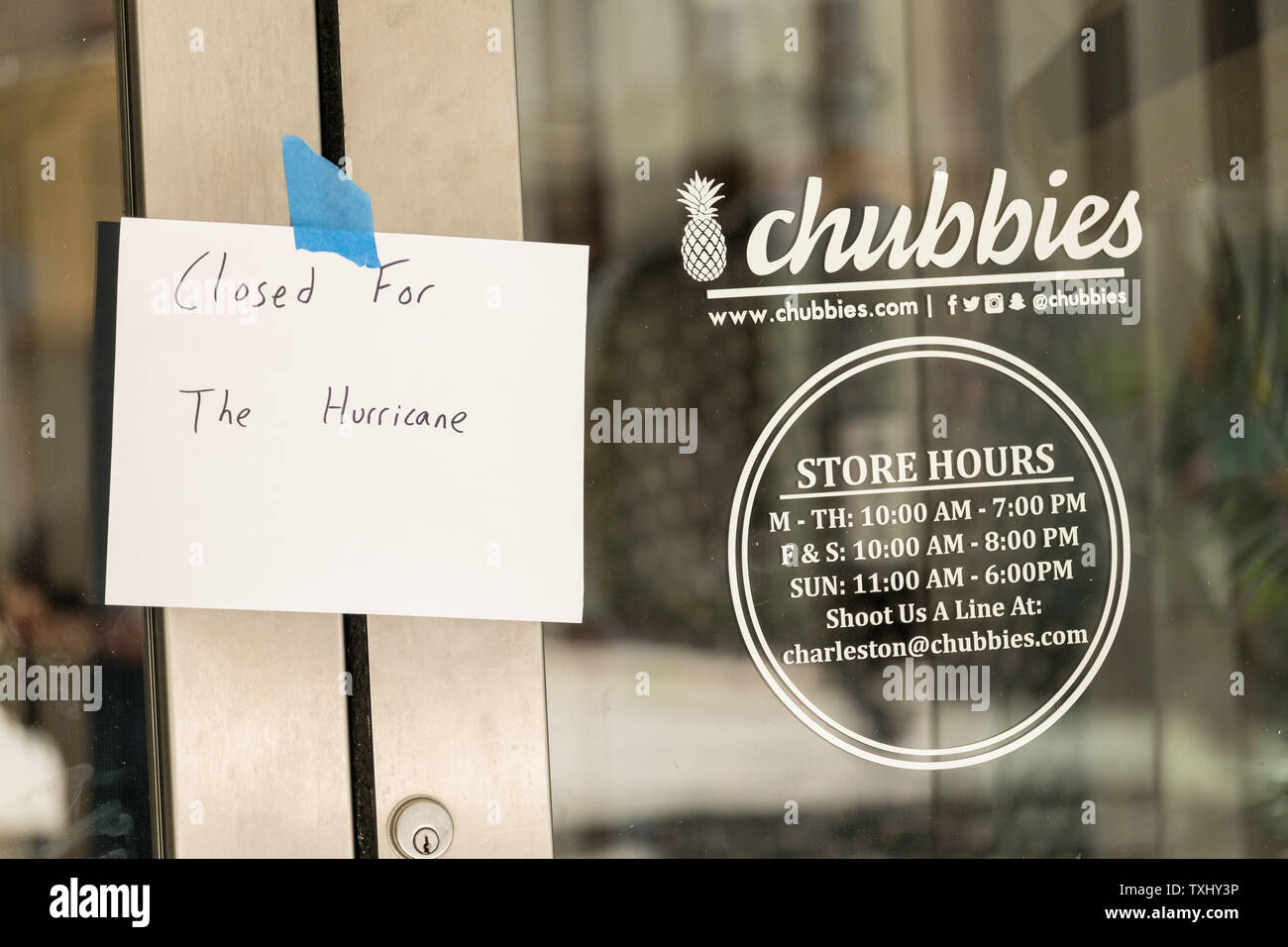 Sign on a shop saying closed for the hurricane on the historic King Street shopping district in preparation for approaching Hurricane Florence September 11, 2018 in Charleston, South Carolina. Florence, a category 4 storm, is expected to hit the coast between South and North Carolina and could be the strongest storm on record for the East Coast of the United States. Photo by Richard Ellis/UPI Stock Photo