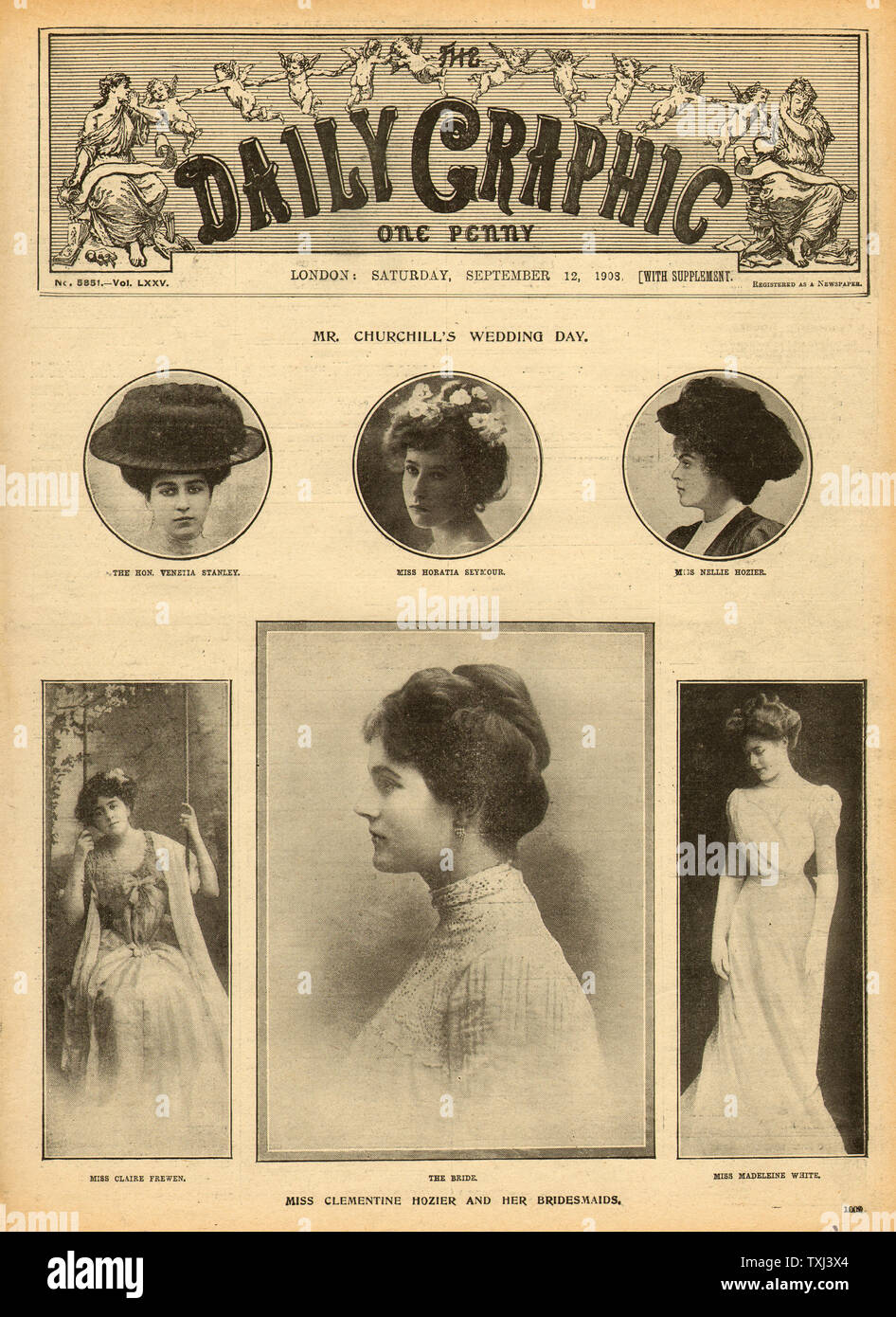 1908 Daily Graphic Front Page Winston Churchill Wedding To