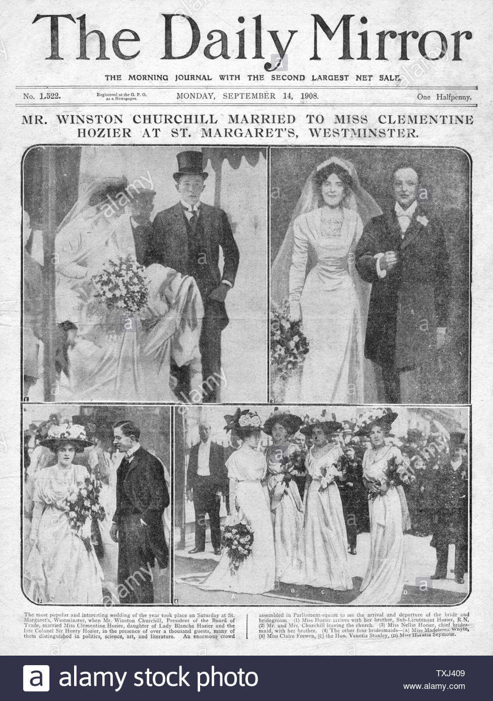1908 Daily Mirror Front Page Wedding Of Winston Churchill