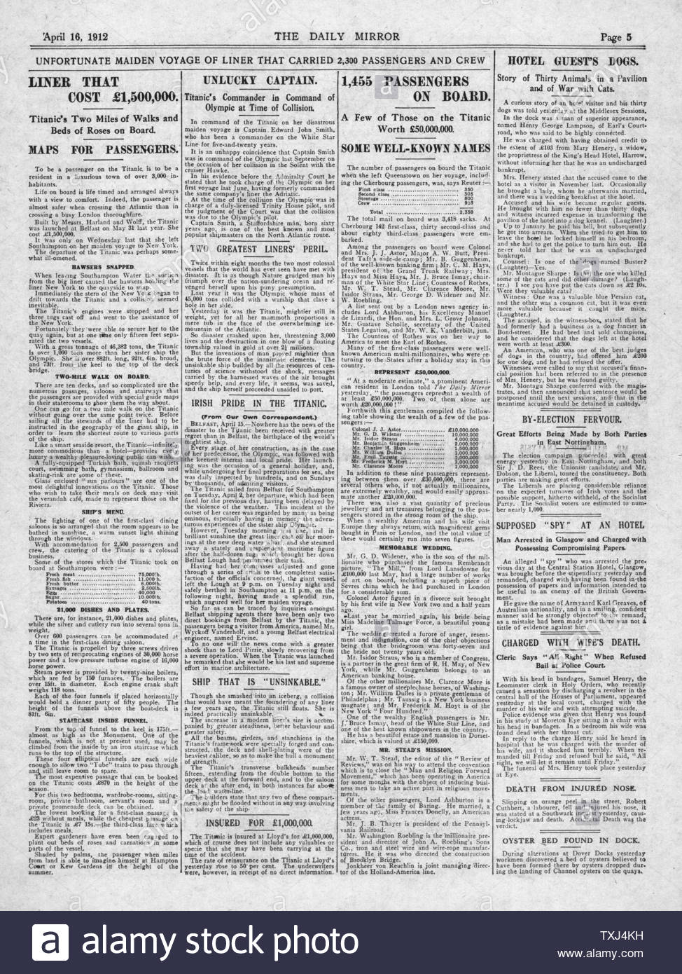 1912 Daily Mirror page 5 Titanic disaster Stock Photo