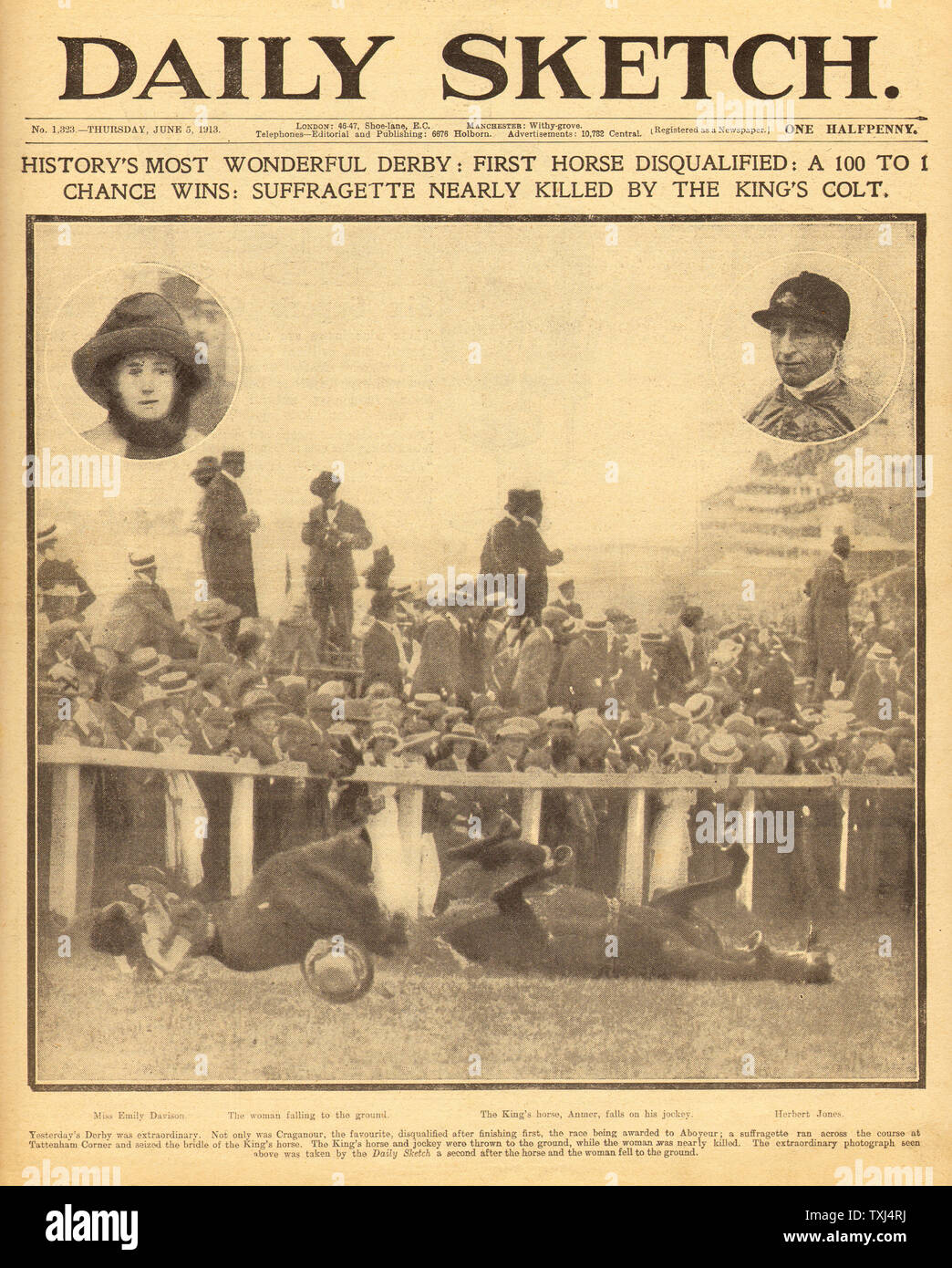 Pair of SUFFRAGETTE EMILY DAVISON KILLED 1913 NEWSPAPER Collectors Tokens//Medals