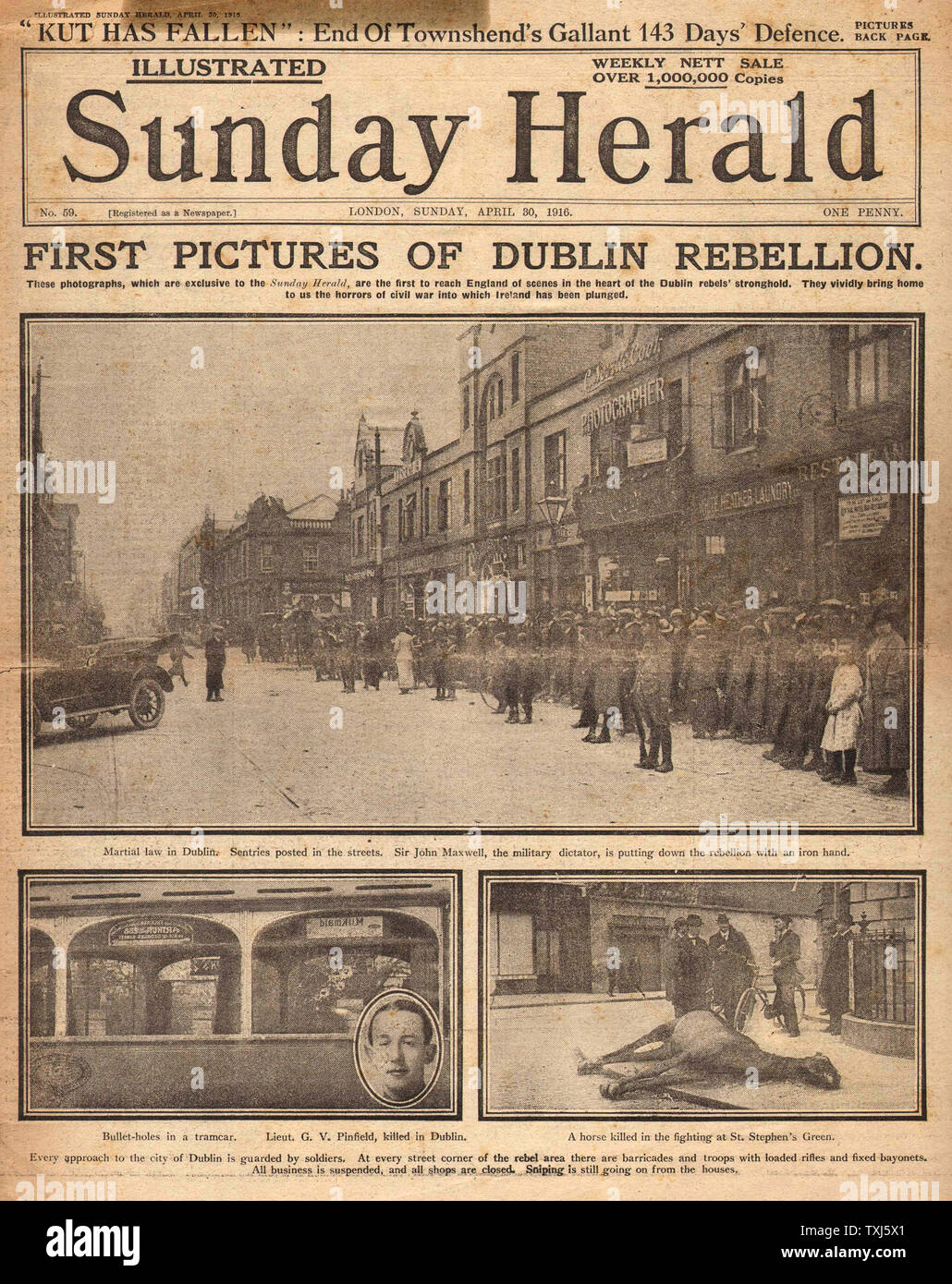 1916 Sunday Herald front page reporting Easter Uprising Ireland Stock Photo
