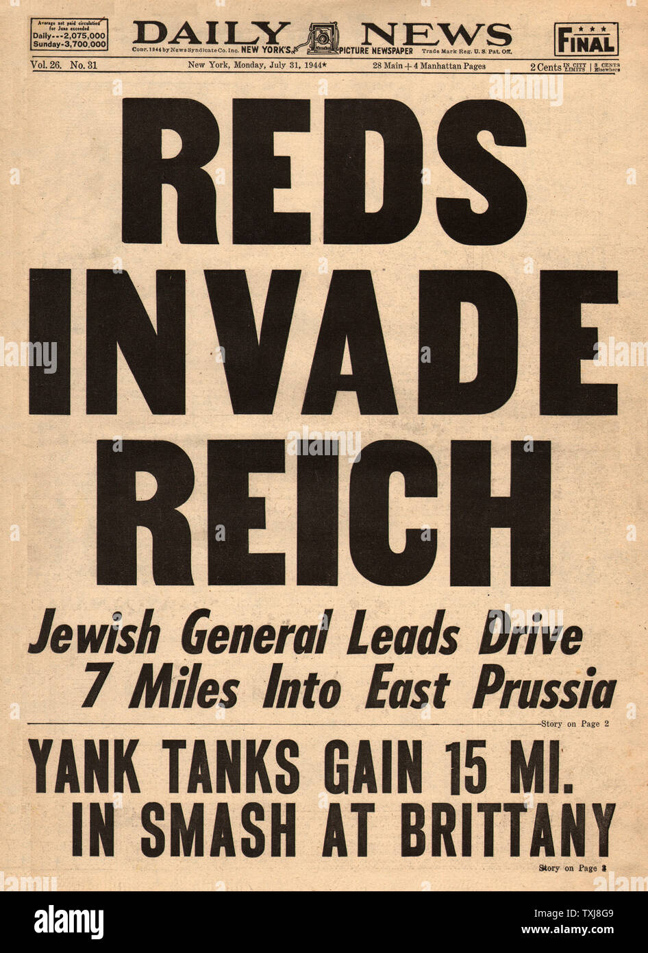 1944 Daily News (New York) Red Army invade East Prussia Stock Photo