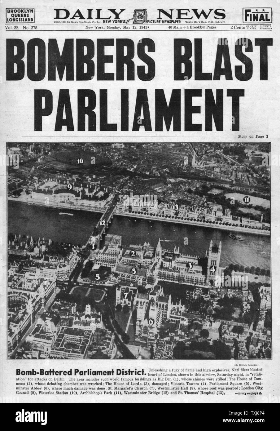 1941 Daily News (New York) British Parliament bombed Stock Photo