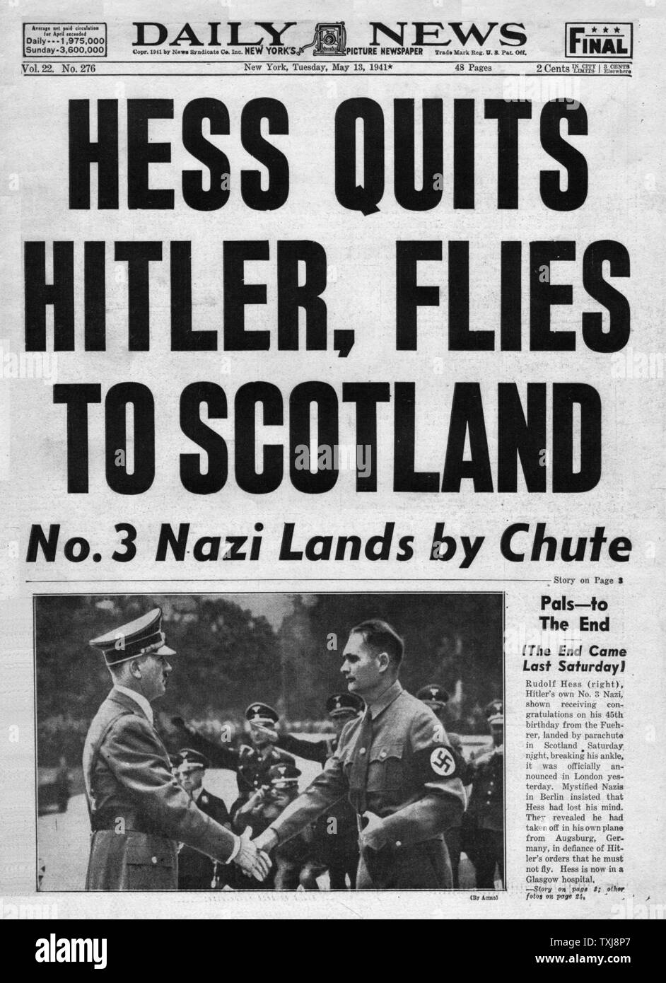 1941 Daily News (New York) Rudolf Hess flies to Britain Stock Photo