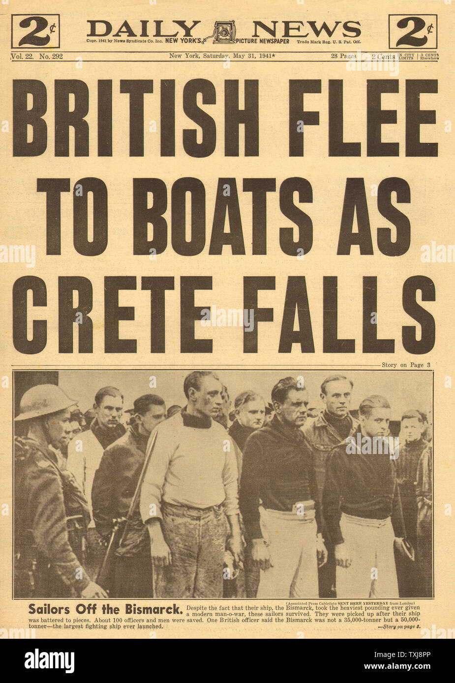 1941 Daily News (New York) Crete falls Stock Photo