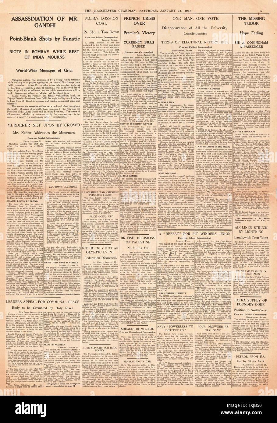 1948 Manchester Guardian newspaper page 5 Mahatma Ghandi Assassinated Stock Photo