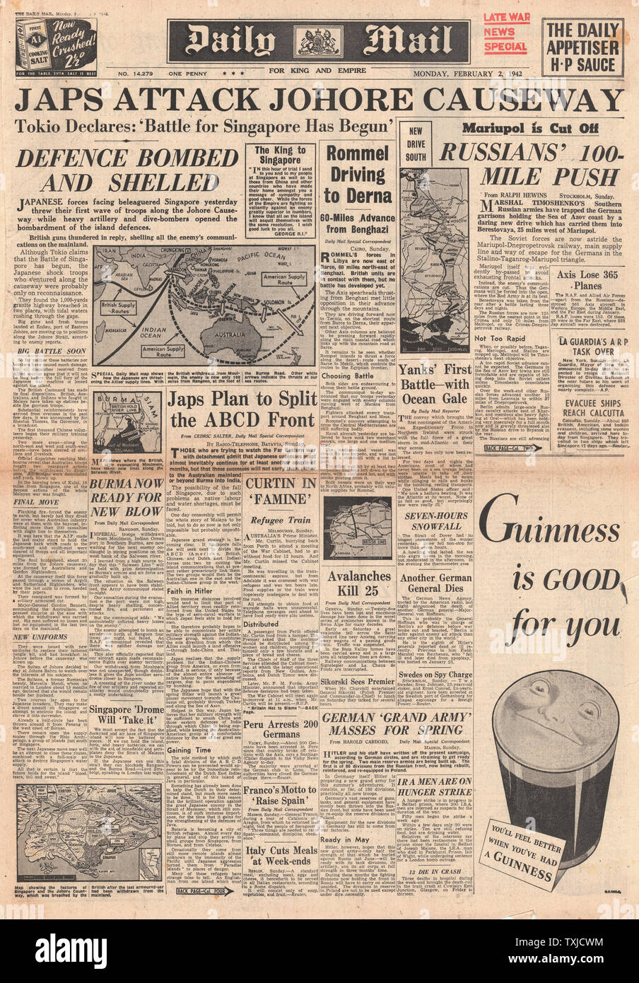 1942 front page Daily Mail Battle for Singapore Stock Photo