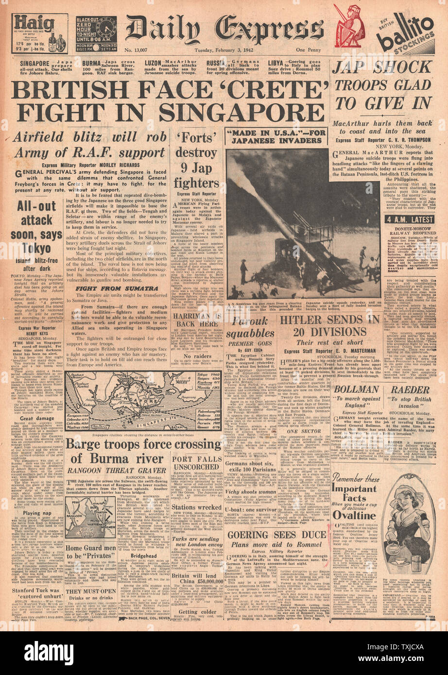 1942 front page  Daily Express Battle for Singapore Stock Photo