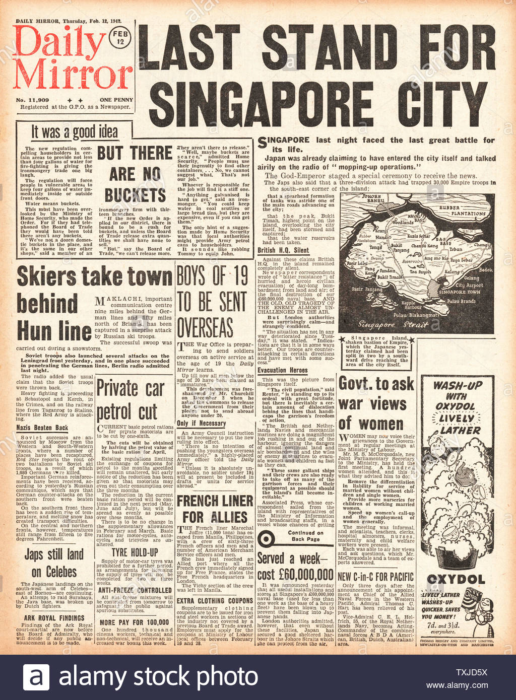 1942 front page Daily Mirror Battle of Singapore Stock Photo
