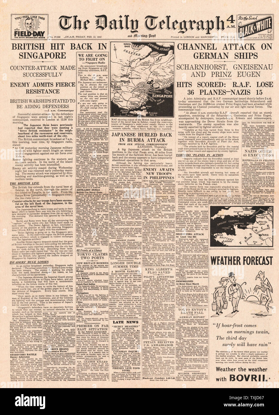1942 front page  Daily Telegraph Battle of Singapore and Channel dash by German Warships Scharnhorst, Gneisenau and Prinz Eugen Stock Photo