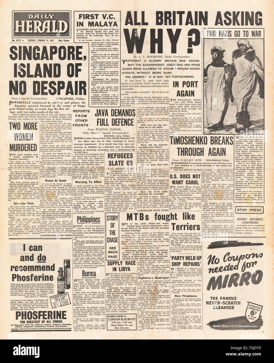 1942 front page Daily Herald Battle of Singapore and Channel dash by German Warships Scharnhorst, Gneisenau and Prinz Eugen Stock Photo